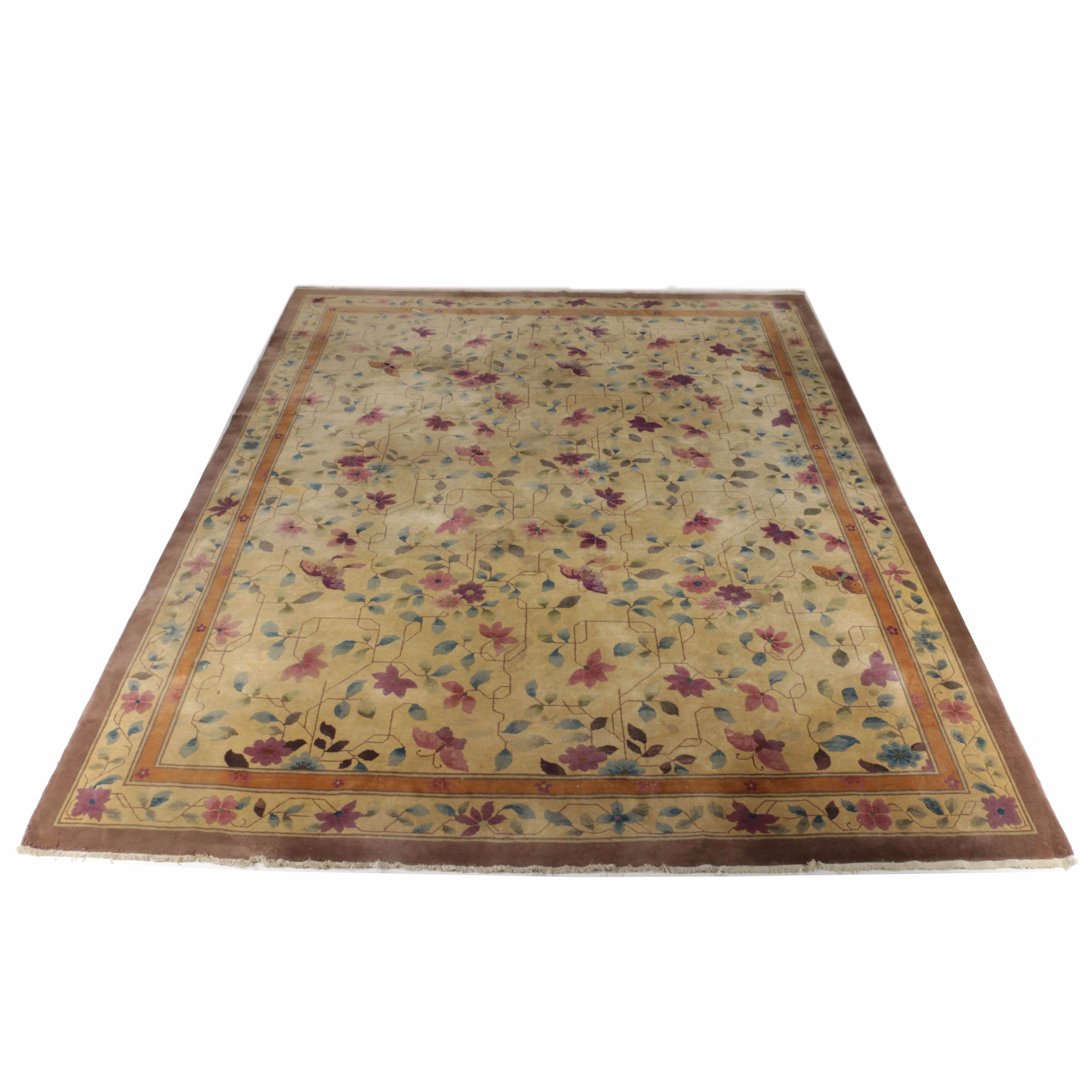 Vintage Hand-Knotted Chinese Floral Area Rug