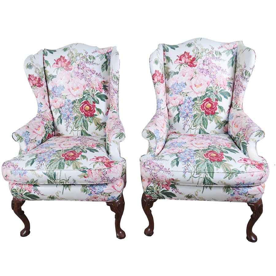 Matching Pair of Upholstered Sherrill Armchairs