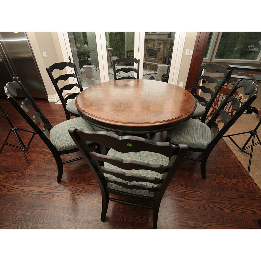 Round Dining Table and Six Chairs