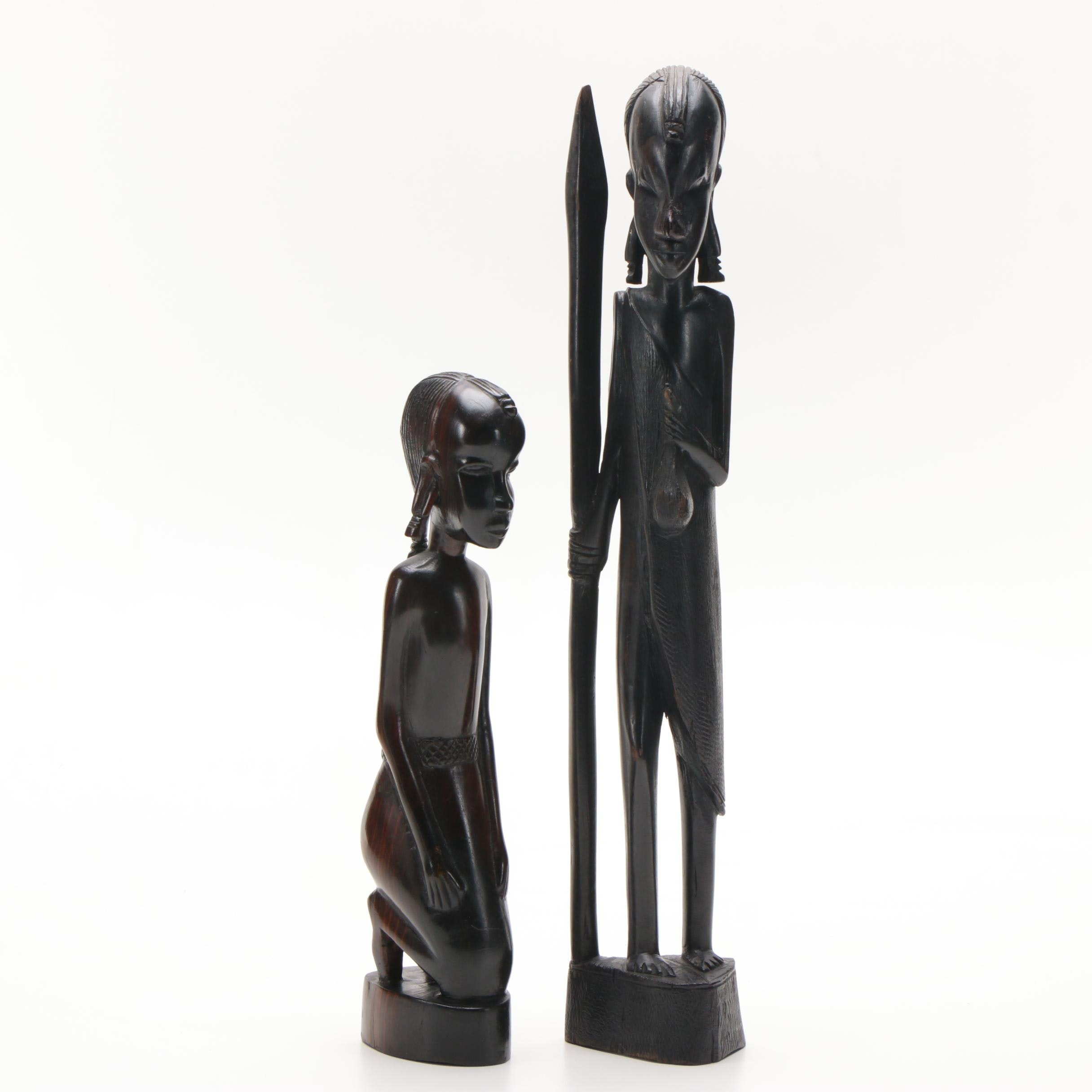 East African Inspired Carved Wooden Maasai Warrior Figures
