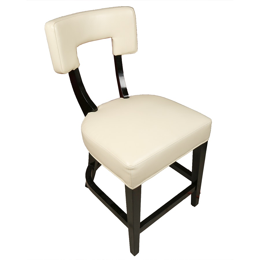 Four Black and Cream Faux Leather Bar Stools