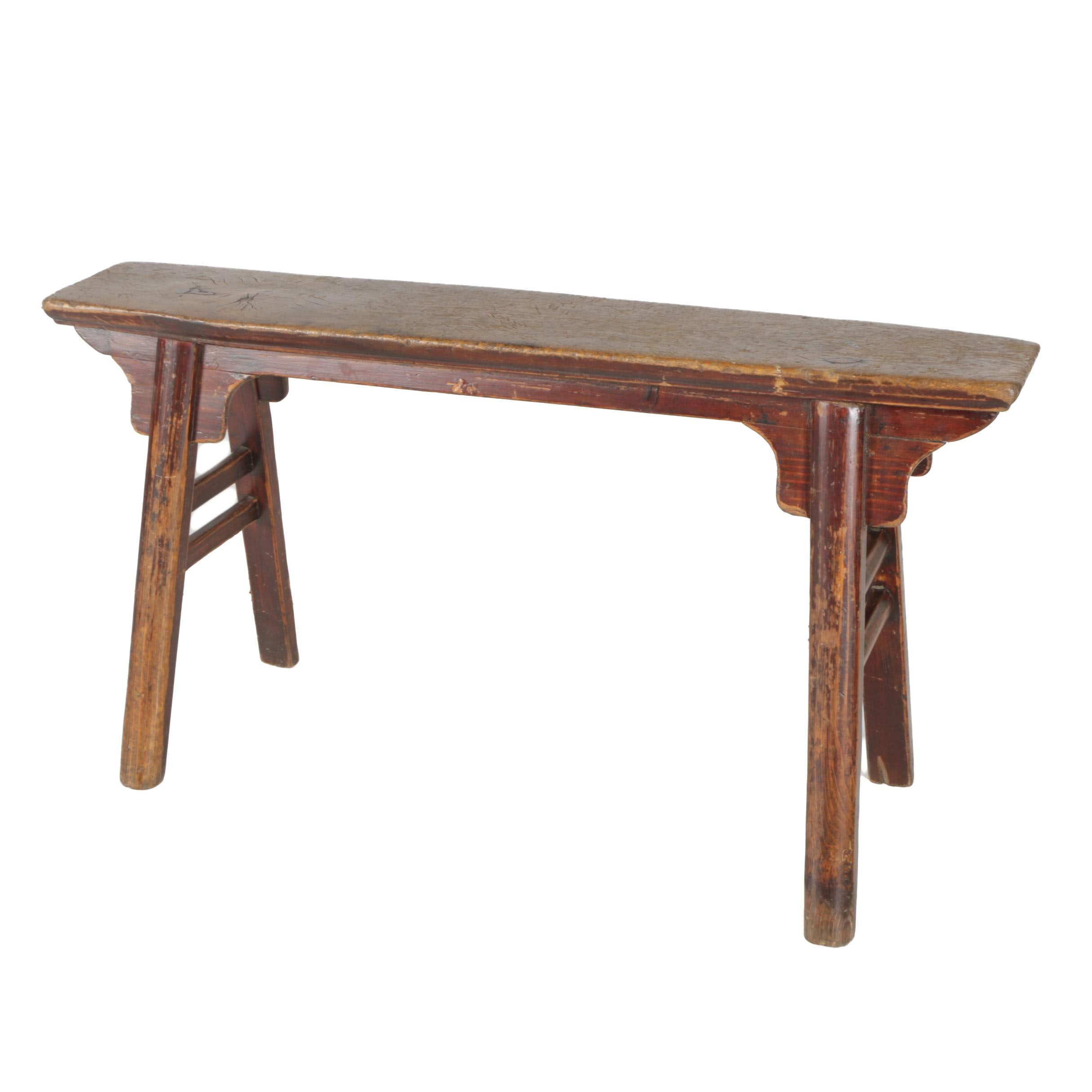 Chinese Provincial Style Bench With Splayed Legs