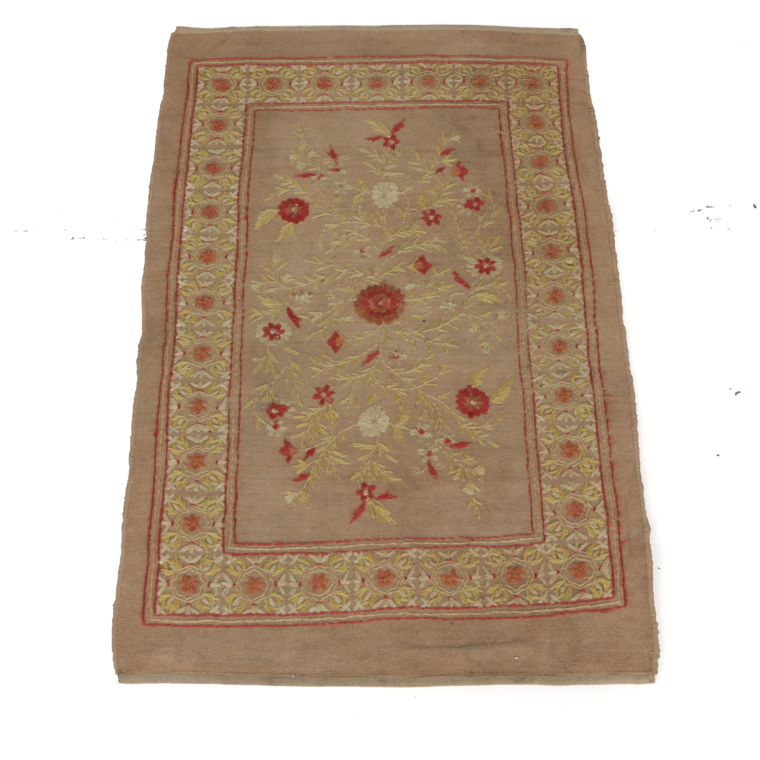 Hand-Embroidered Floral Cotton Area Rug