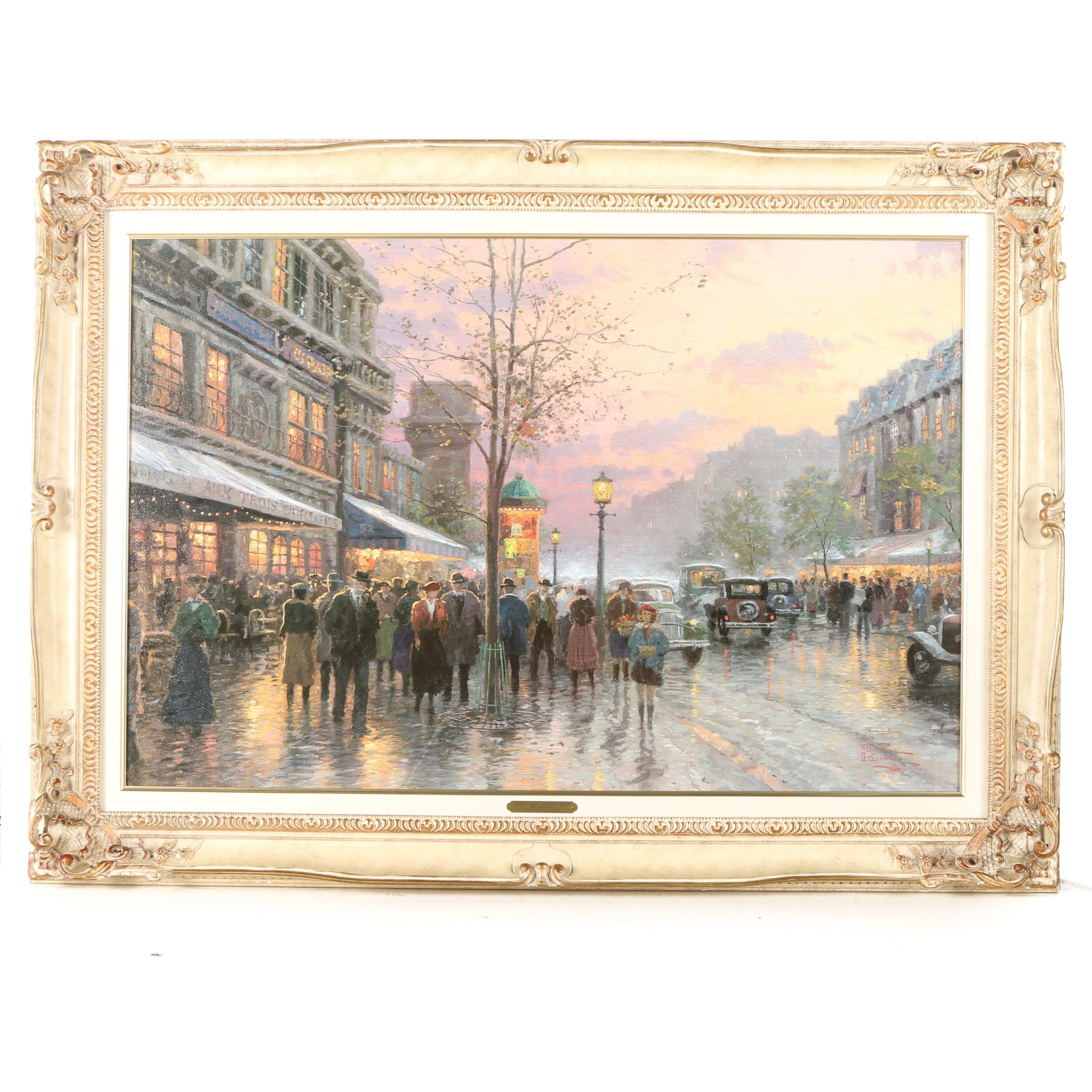 "Thomas Kinkade Giclee Print on Canvas ""Boulevard Lights, Paris"""