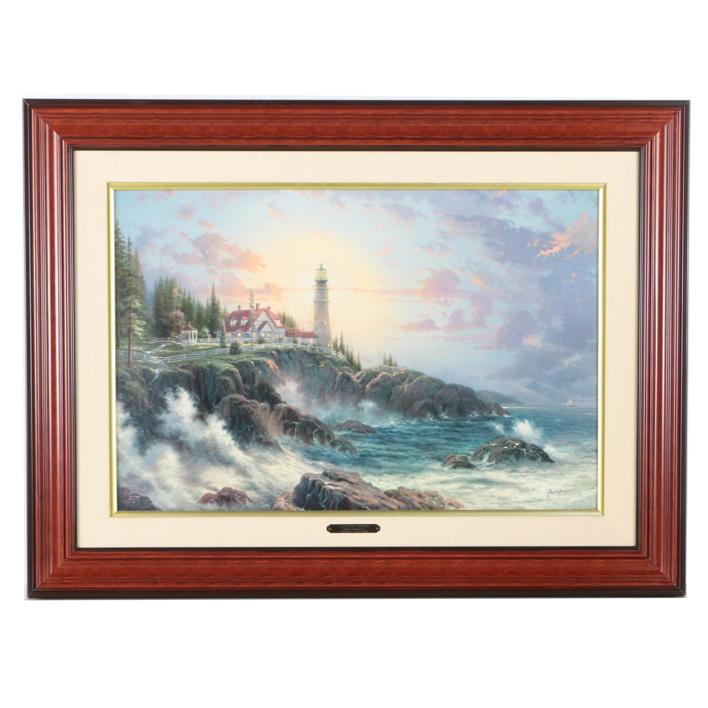 "Thomas Kinkade Limited Edition Embellished Offset Lithograph on Canvas ""Clearing Storms"""