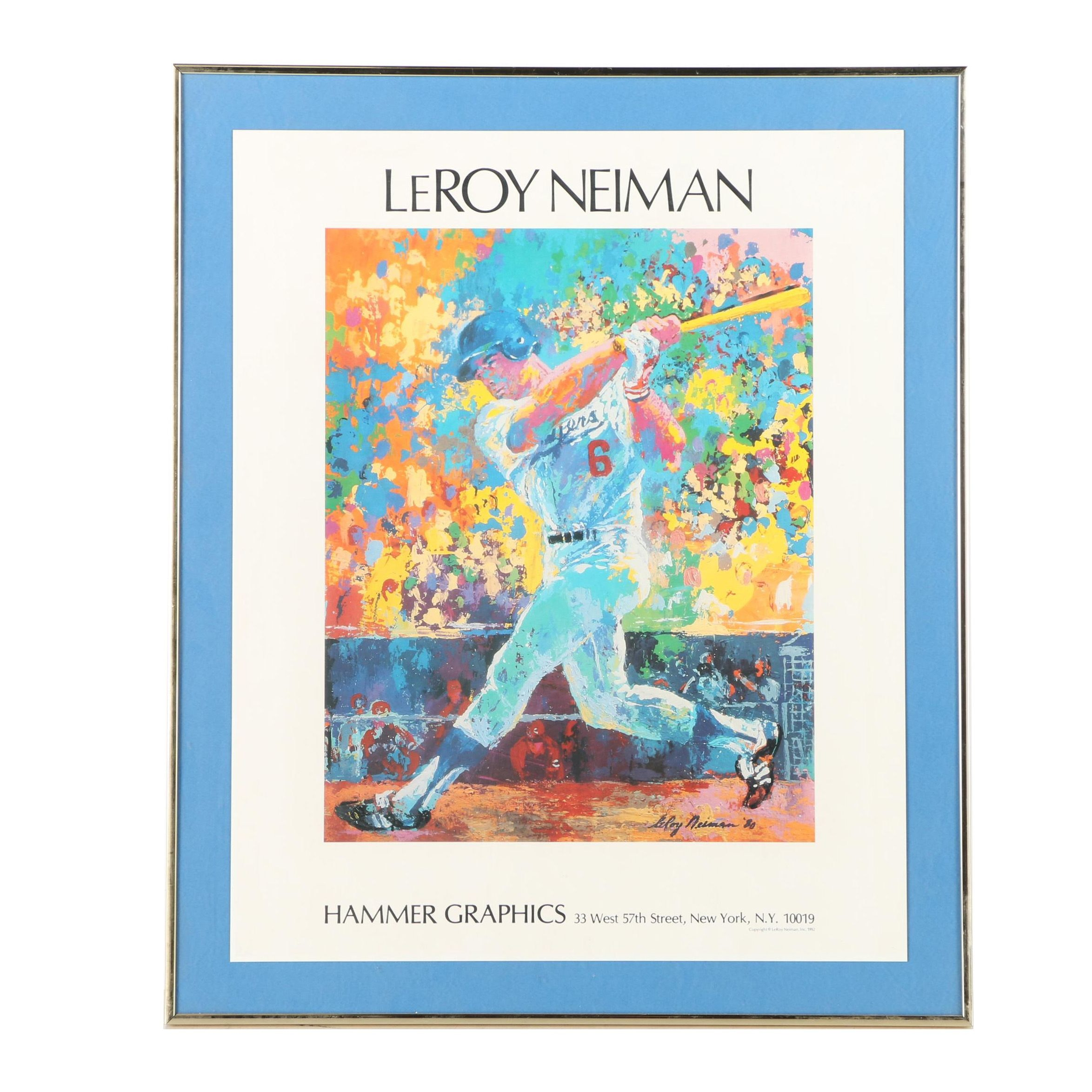 Offset Lithograph Poster After LeRoy Neiman's Portrait of Steve Garvey at Bat