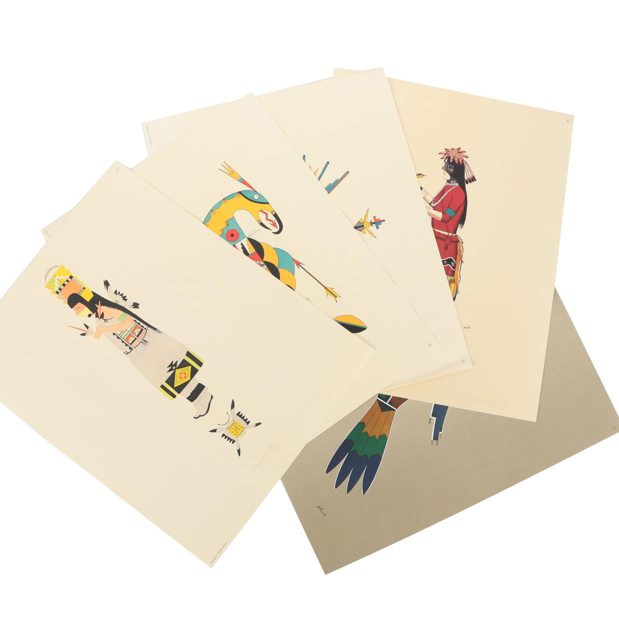 Five Aztec Inspired Offset Lithographs After Various Artists