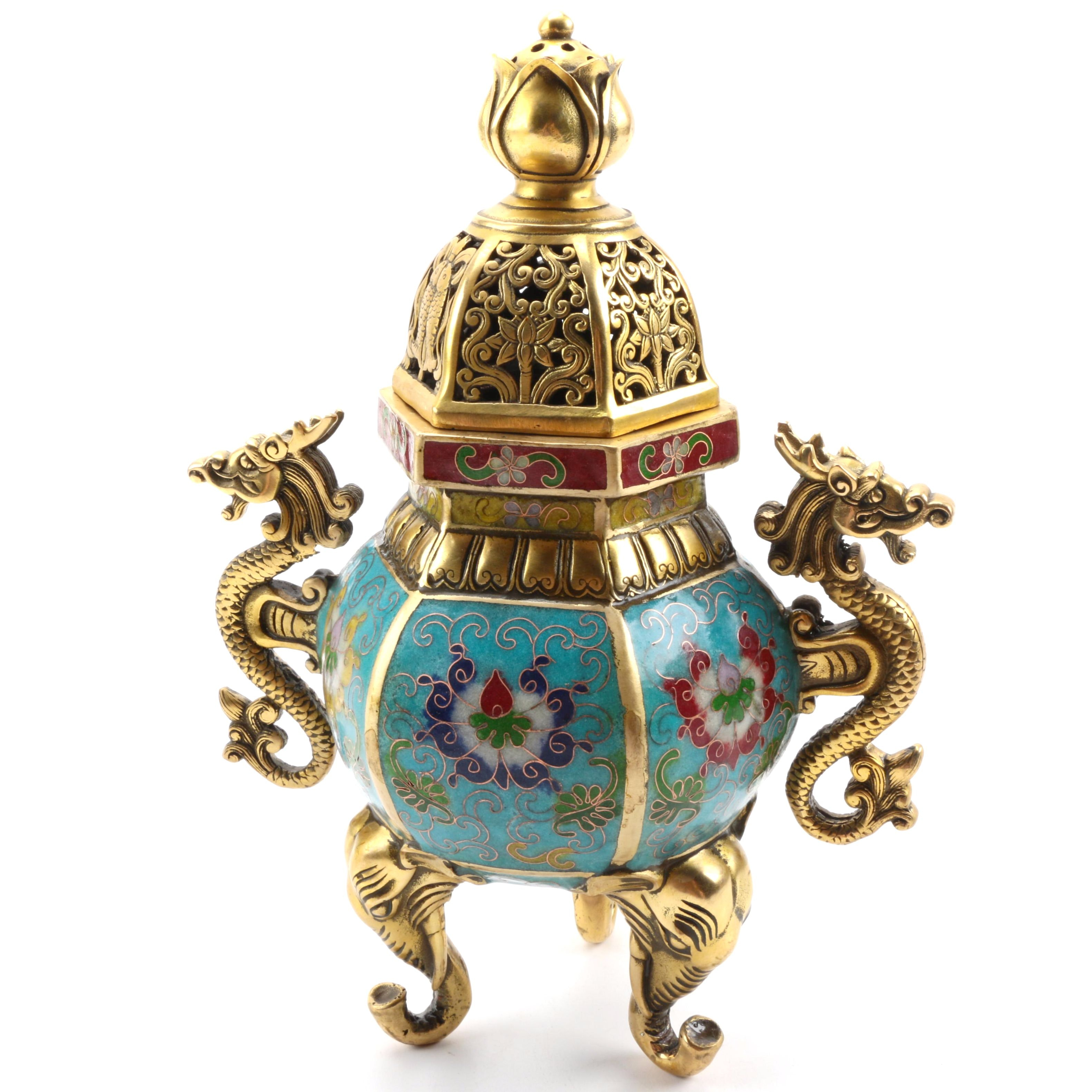 Chinese Brass and Cloisonne Figural Incense Burner