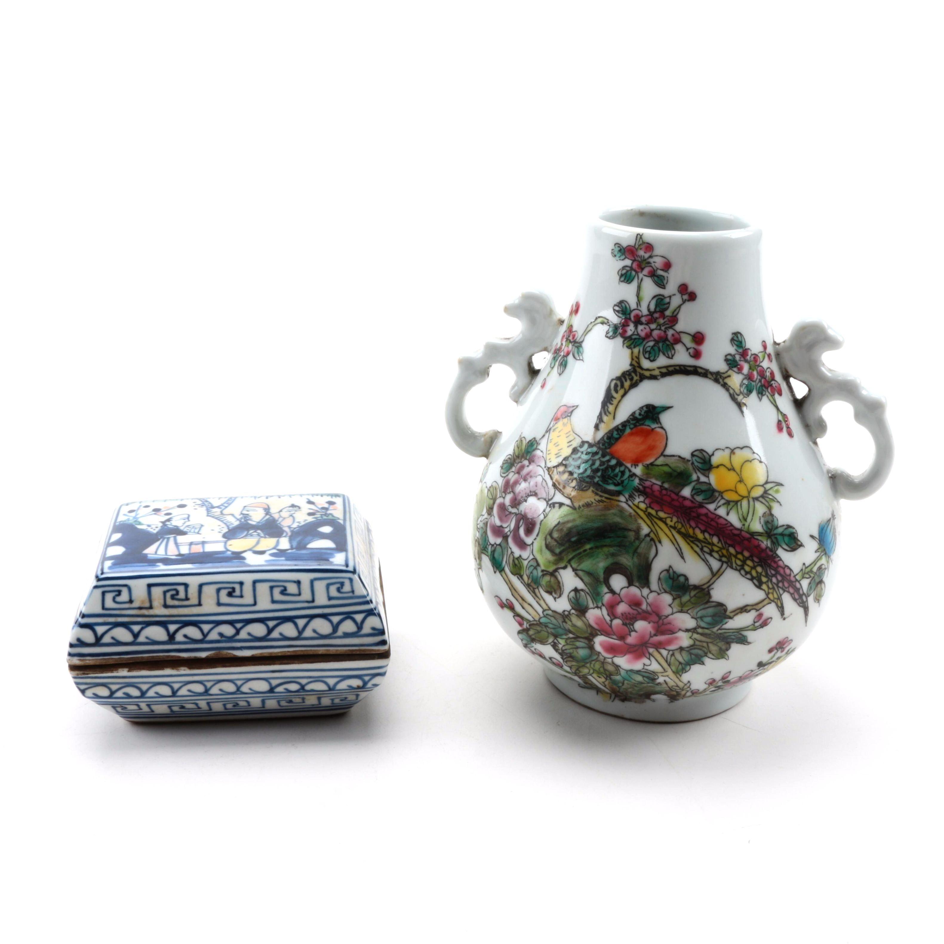 Chinese Ceramic Vase and Trinket Box