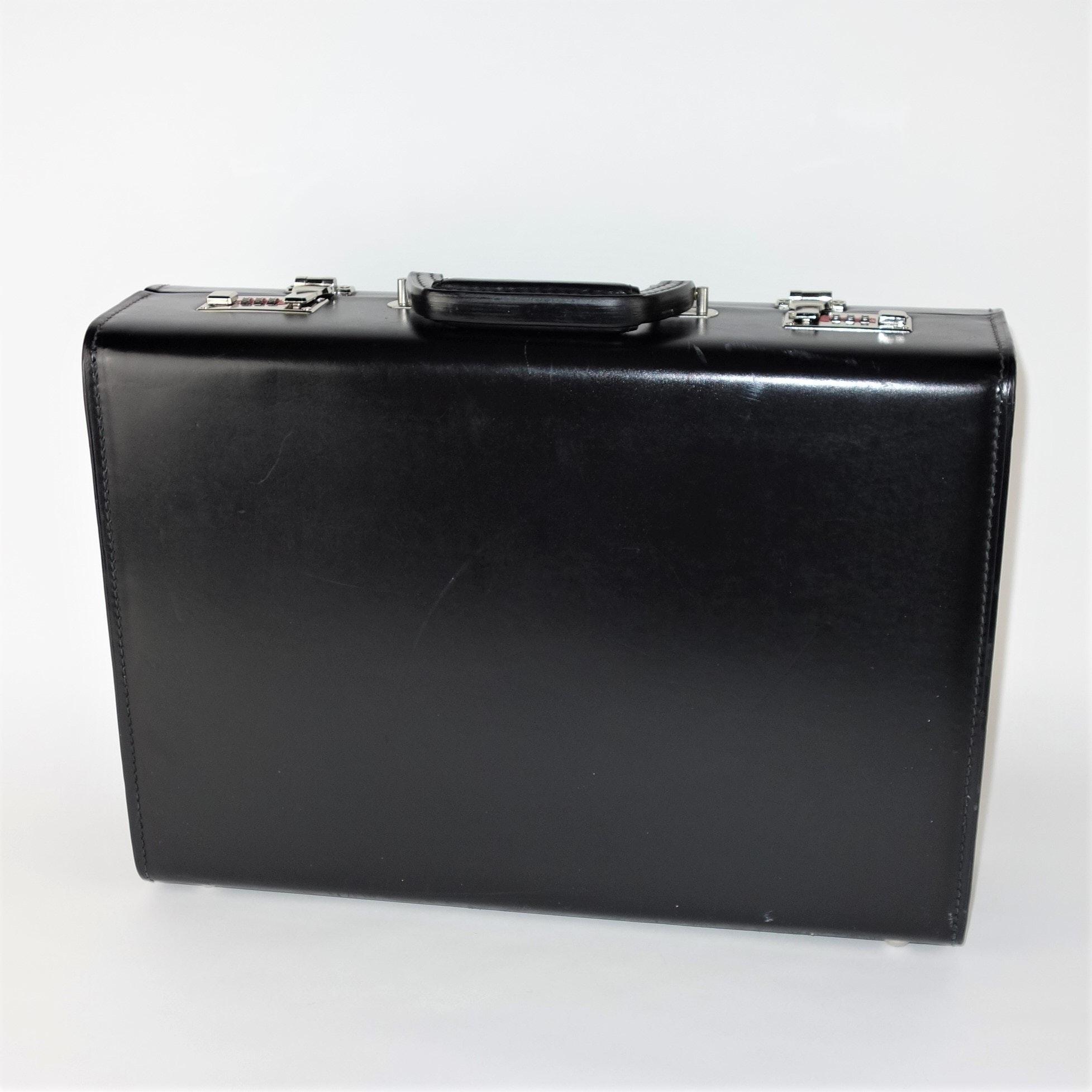 Atlas Black Leather Briefcase
