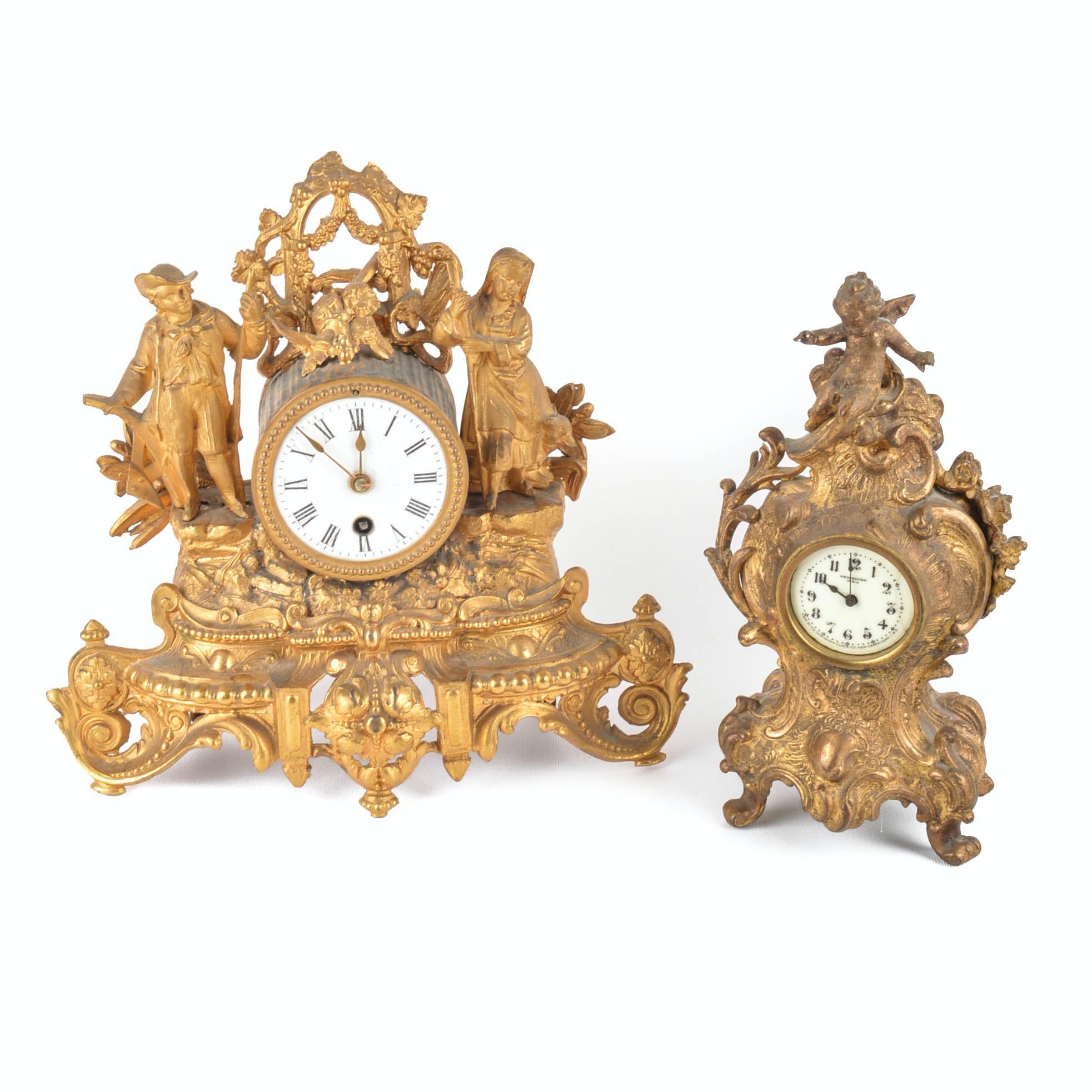 Two Vintage Ornamental Mantle Clocks