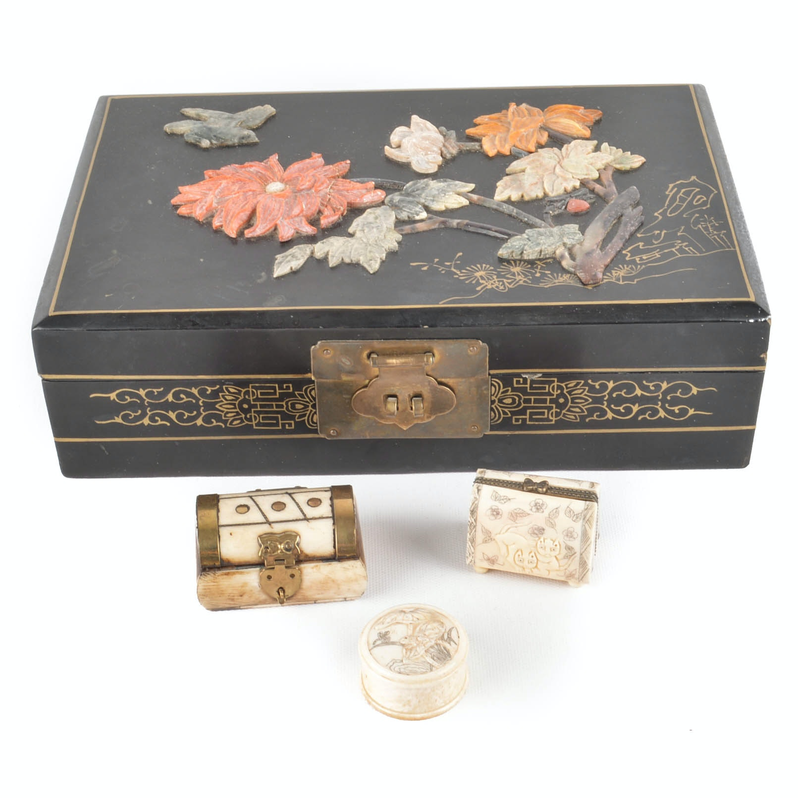 Jewelry Box With Applied Soapstone Carvings and Carved Bone Boxes