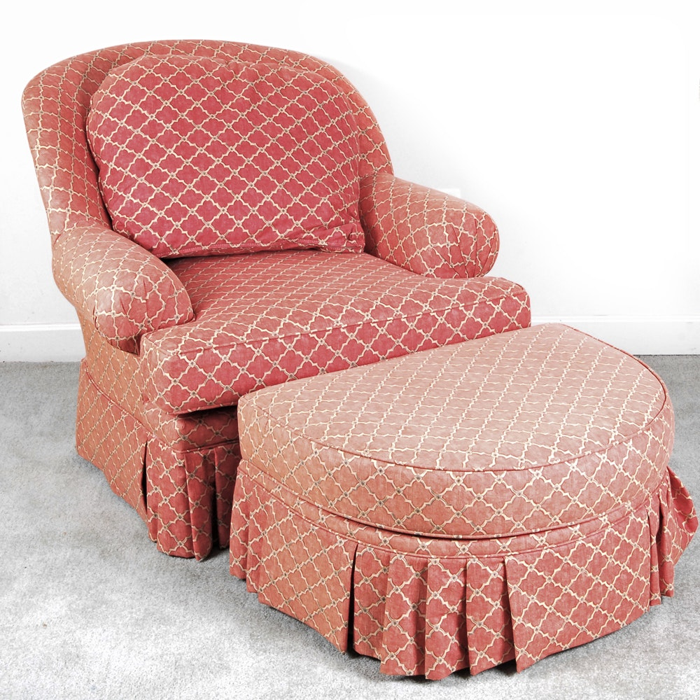 King Hickory Red-Upholstered Armchair and Ottoman