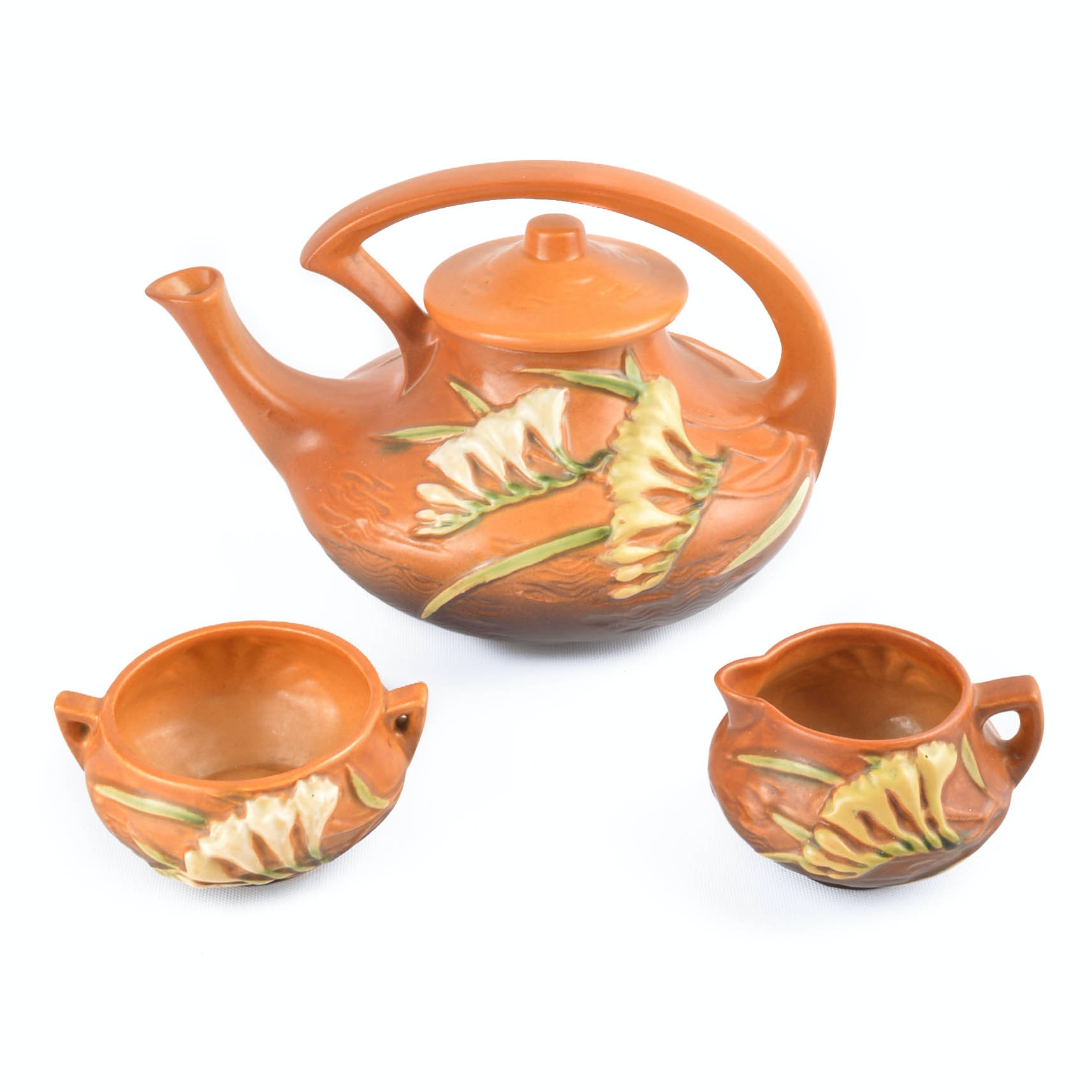 "Roseville ""Freesia"" Tea Service In Tangerine"