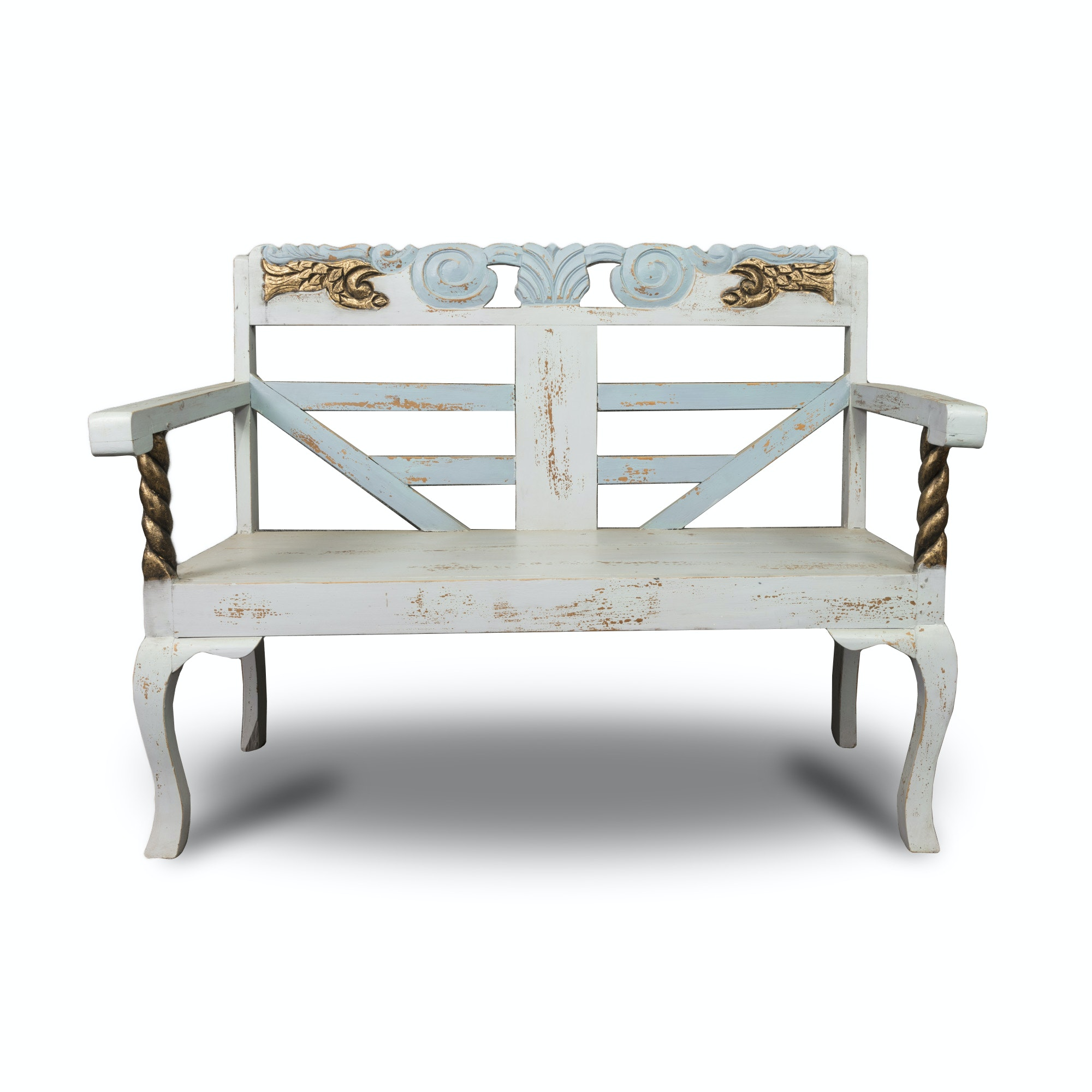 Hand-Painted Distressed White Bench