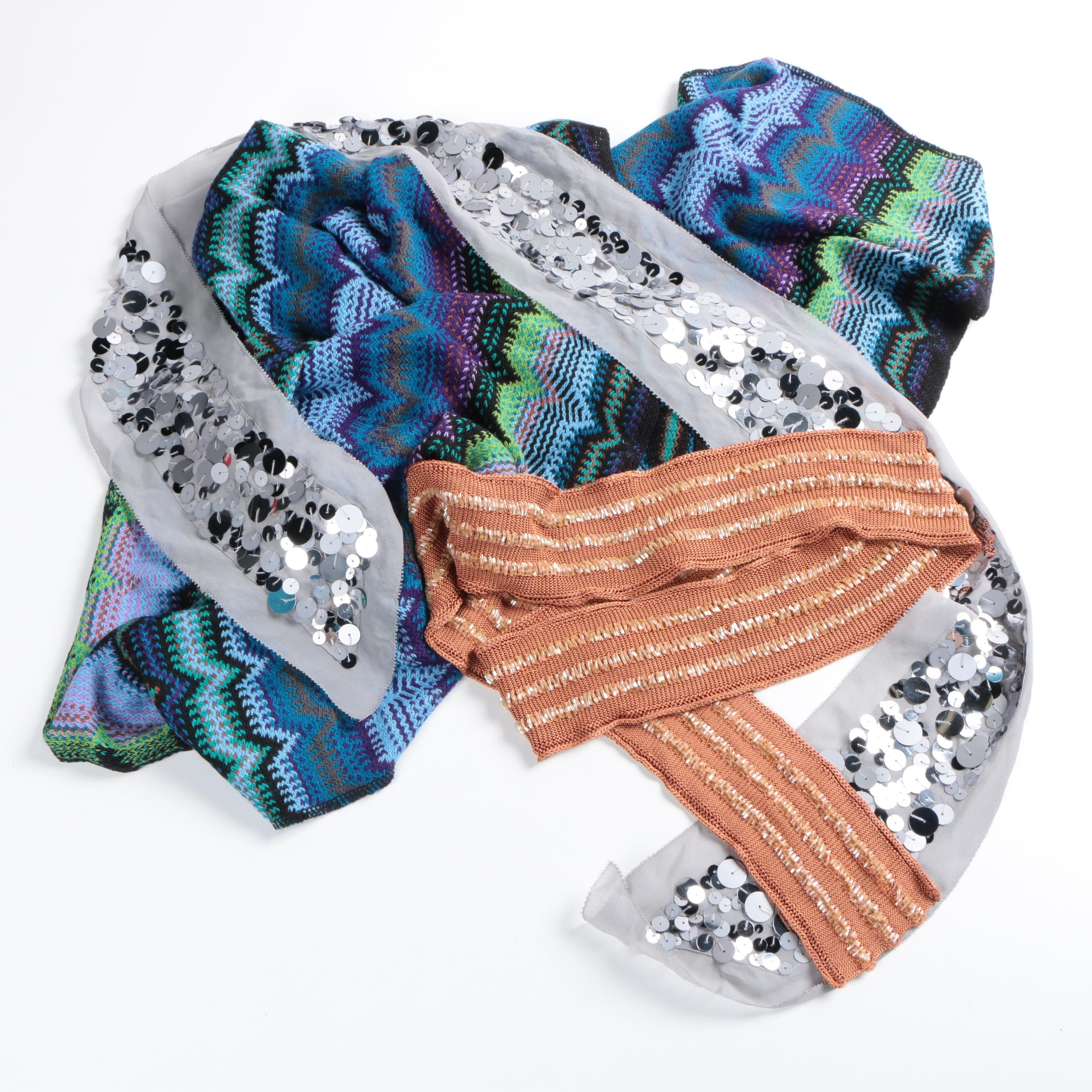 Striped and Embellished Scarves