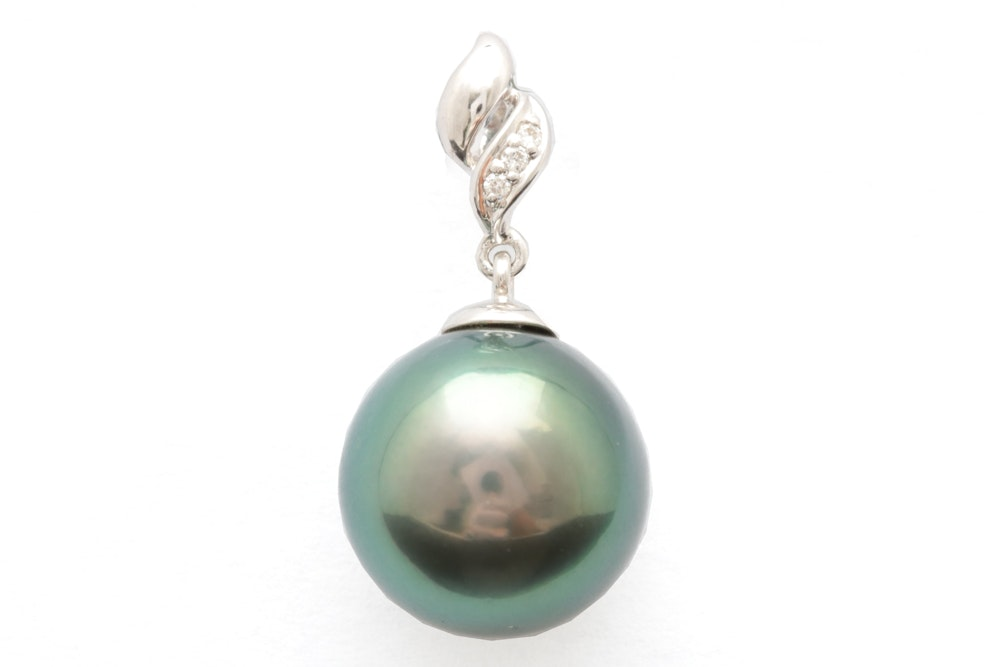 18K White Gold, Tahitian Pearl and Diamond Pendant