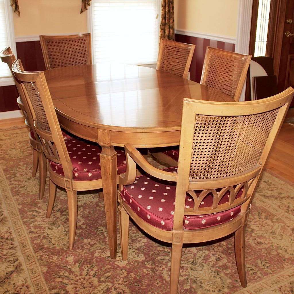 Vintage French Provincial Style Extension Table with Six Chairs