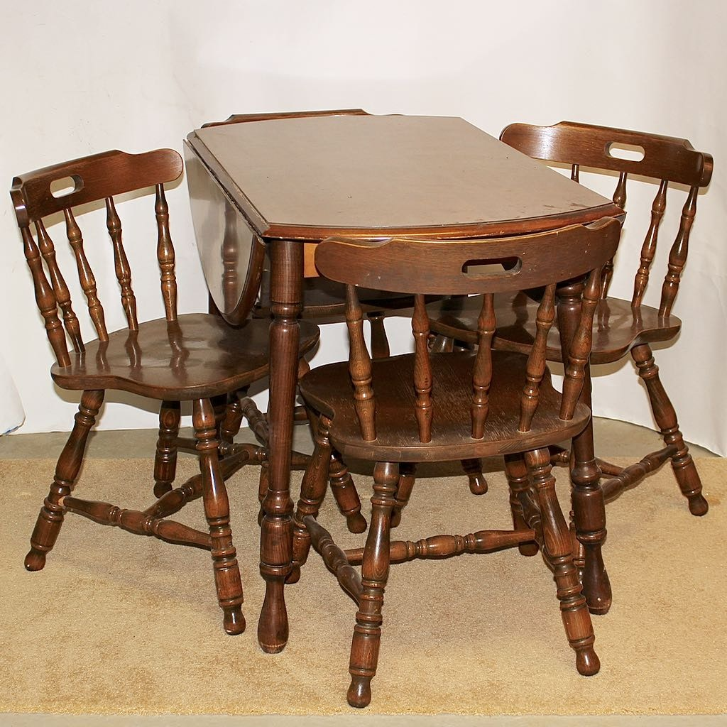 Vintage Drop Leaf Dining Table with 4 Chairs