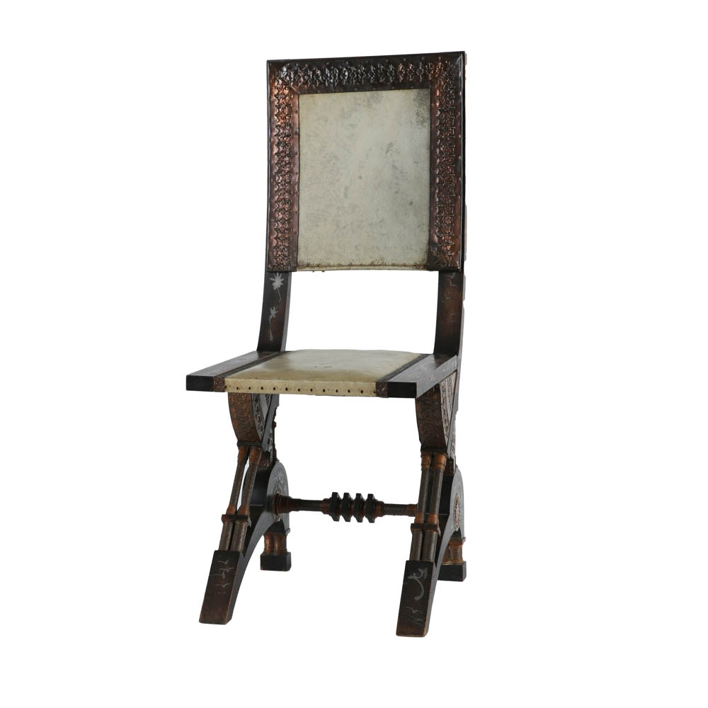 Carlo Bugatti Inlaid Walnut Chair with Vellum Covered Seat