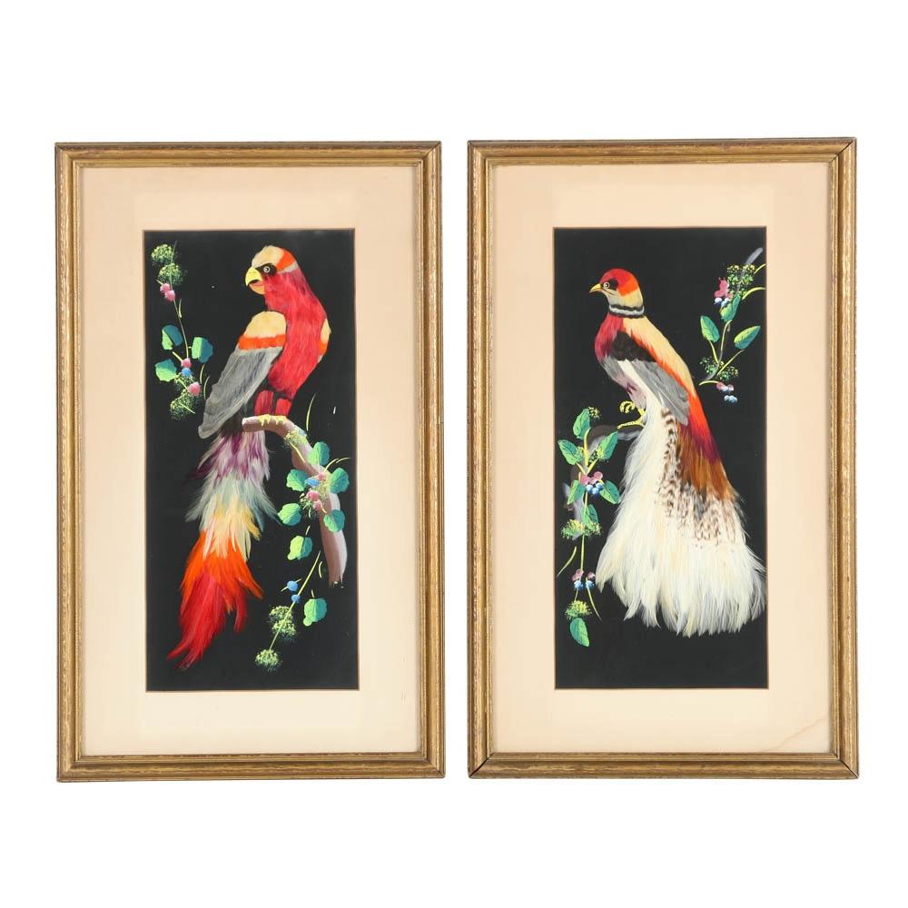 Pair of Vintage Feather Craft Bird Portraits