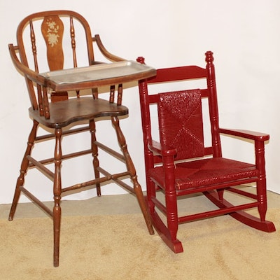 Late Century Spindle Frame Highchair with Child's Rocker - Vintage Baby Furniture Auction Antique Nursery Furniture : EBTH