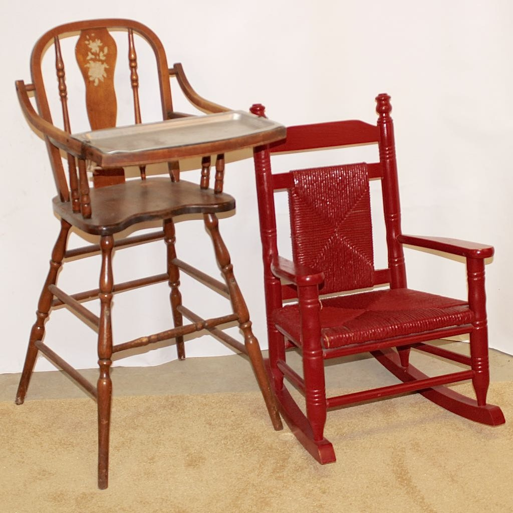 Late Century Spindle Frame Highchair With Childu0027s Rocker
