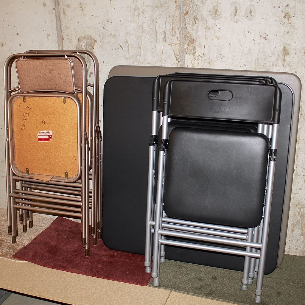 Two Card Tables and 12 Folding Chairs