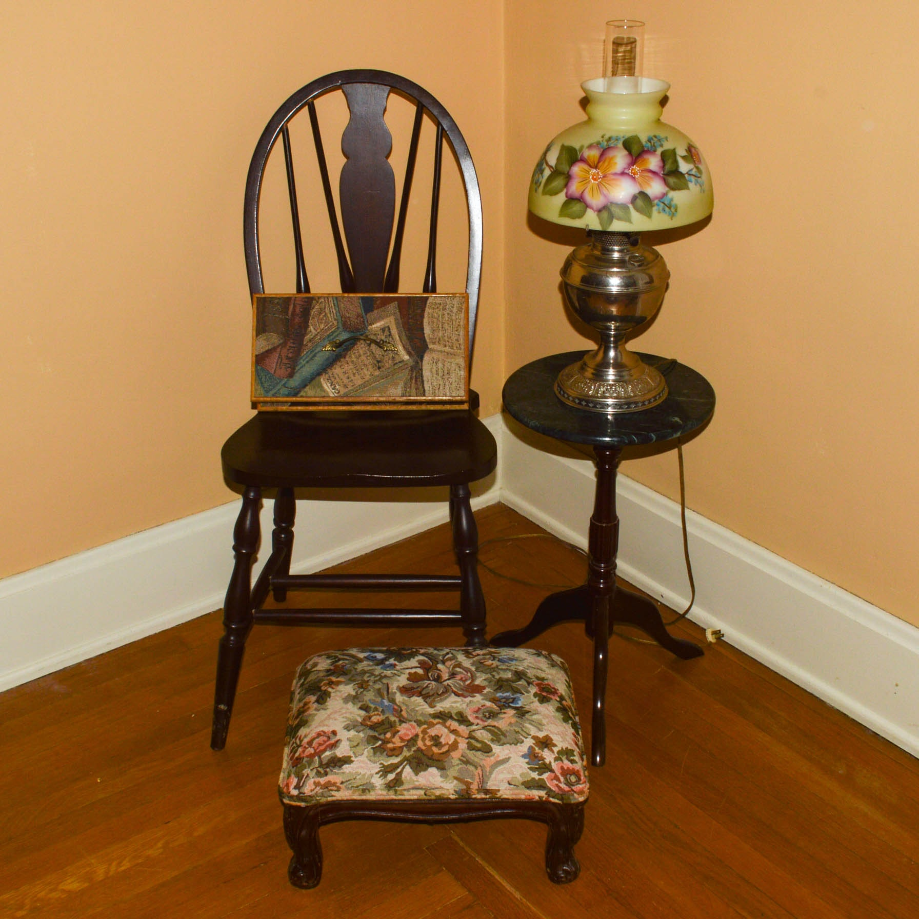 Windsor Chair, Table Lamp, Side Table, Foot Stool, and Storage Box