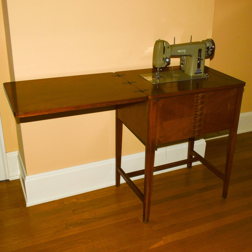 Vintage Necchi BF Mira Sewing Machine With Cabinet EBTH Stunning Necchi Bf Mira Sewing Machine