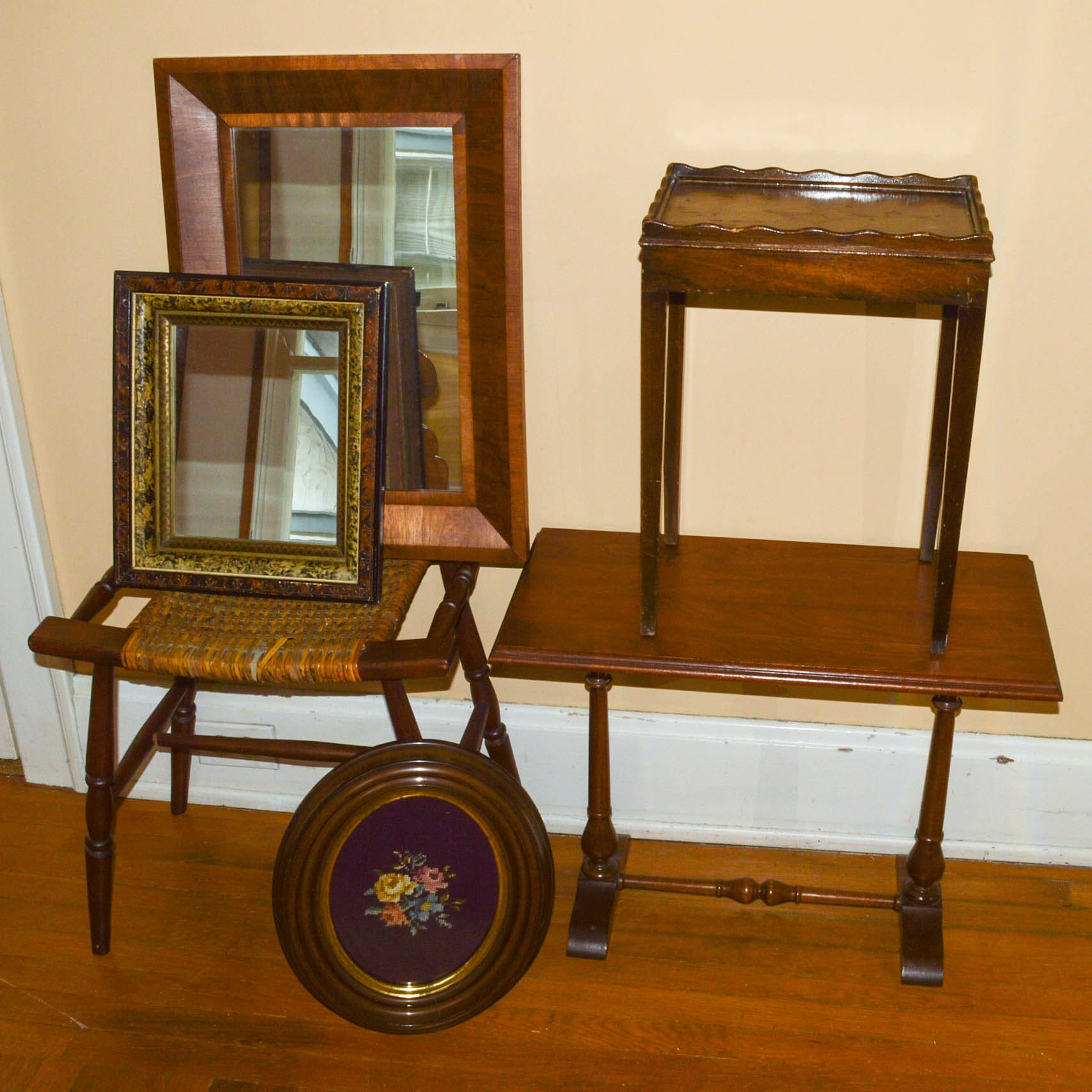 Wooden Side Tables, Mirrors, Framed Needlework, and Woven Stool