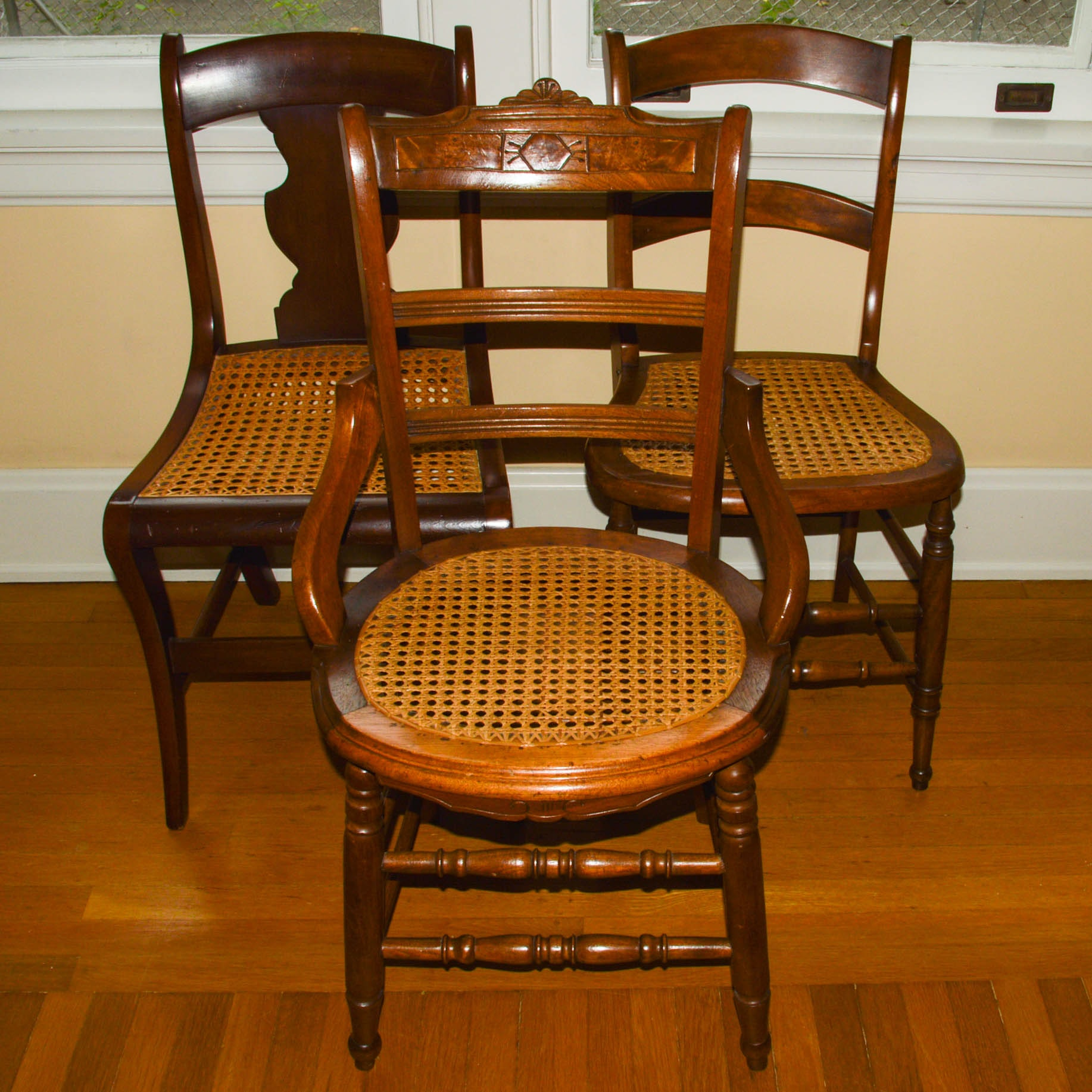 Three Antique Side Chairs with Cane Seats