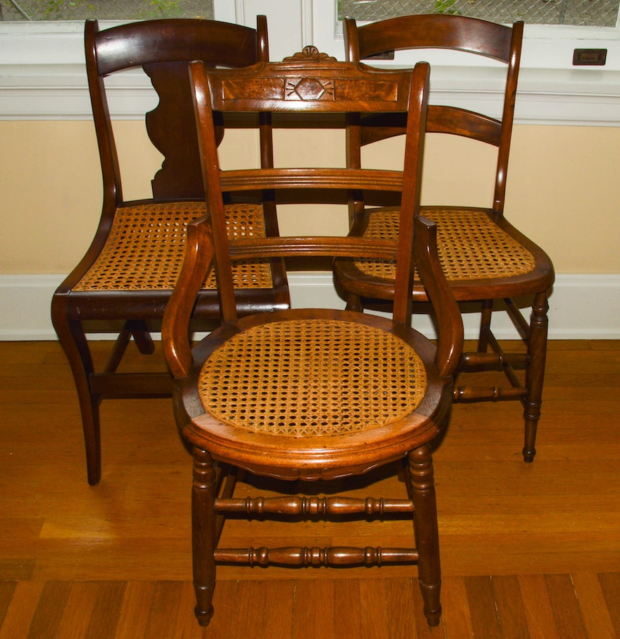Three Antique Side Chairs with Cane Seats ... - Three Antique Side Chairs With Cane Seats : EBTH