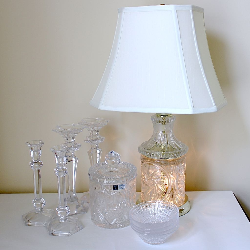Crystal Cut Table Lamp with Handcut 24% Lead Crystal Biscuit Jar