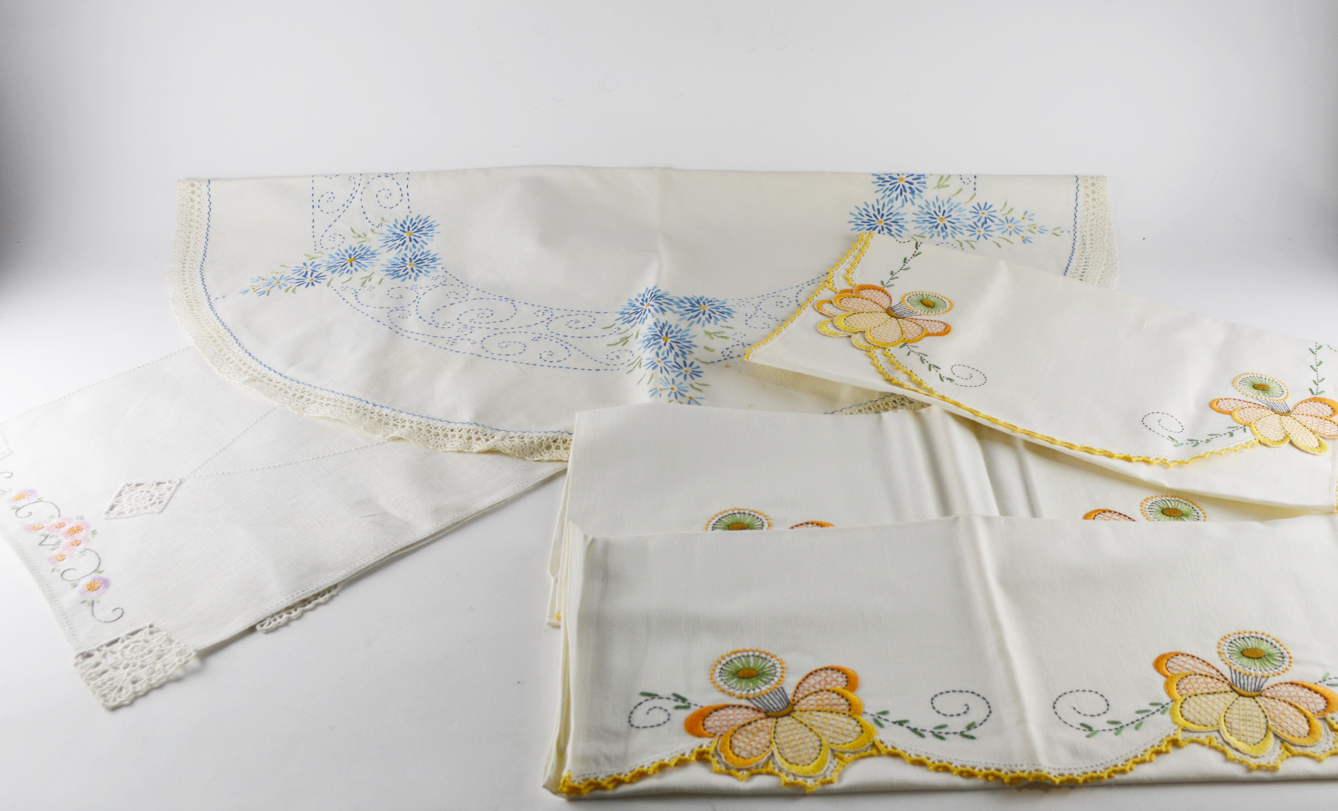 Vintage Hand Embroidered Linens