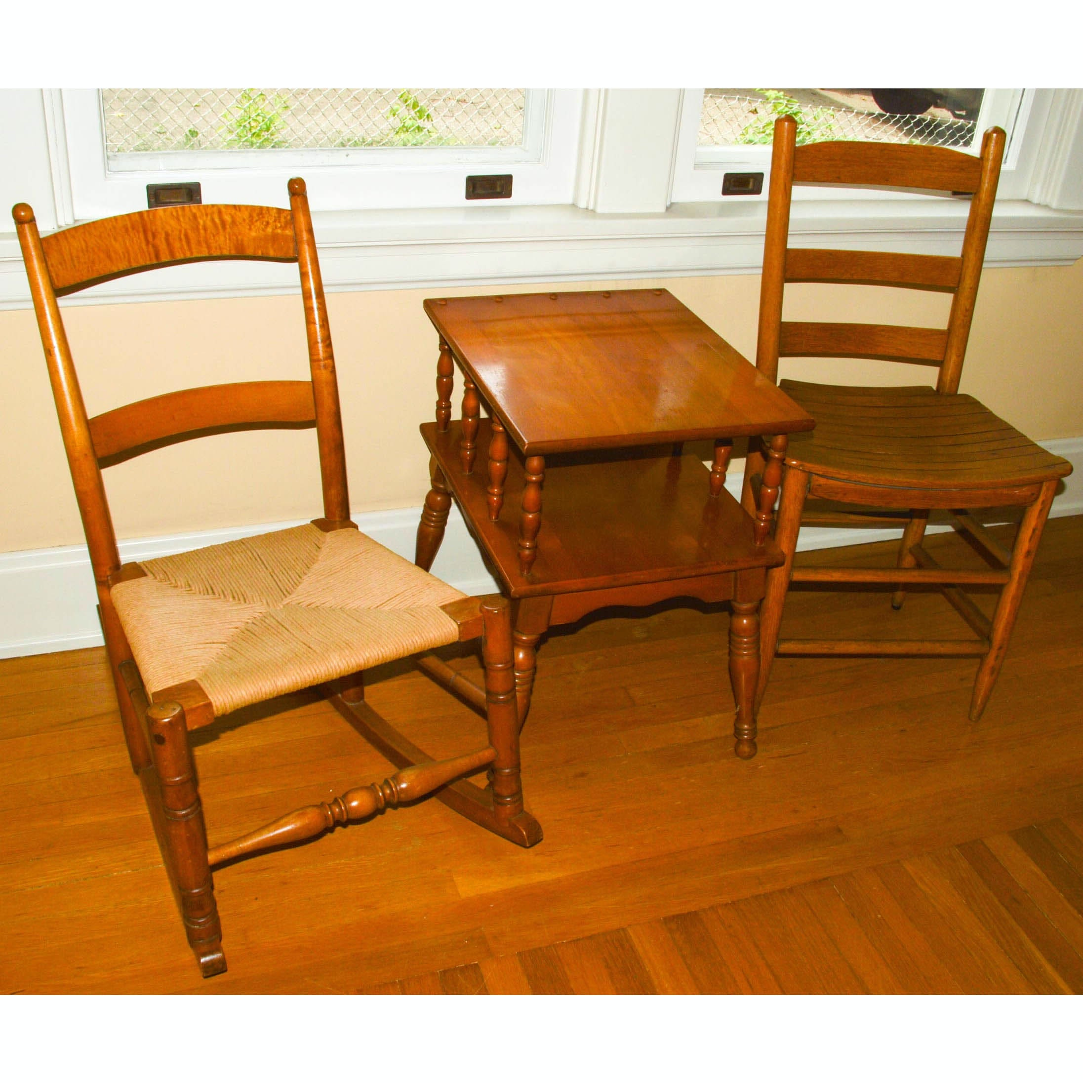 Antique Chairs With Vintage Side Table