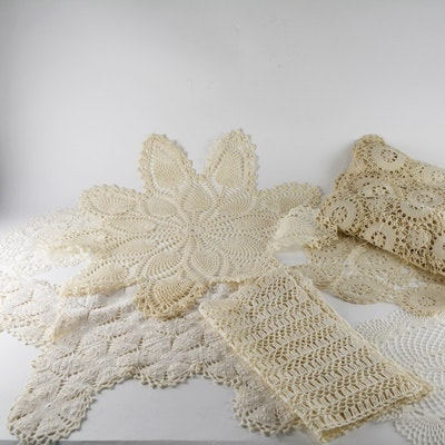 Vintage Hand Crocheted Table Linens