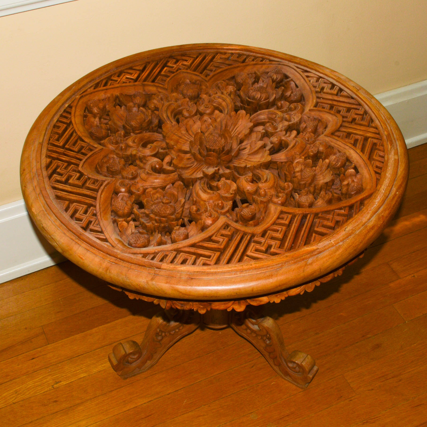 Fretwork Carved Side Table