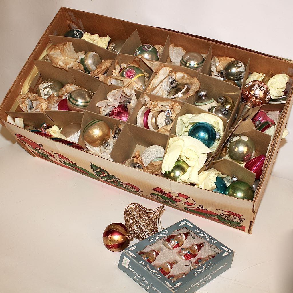 Box of Vintage Christmas Ornaments