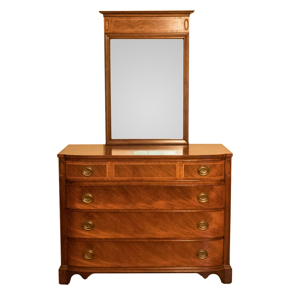 Vintage Federal Style Mahogany Dresser With Mirror
