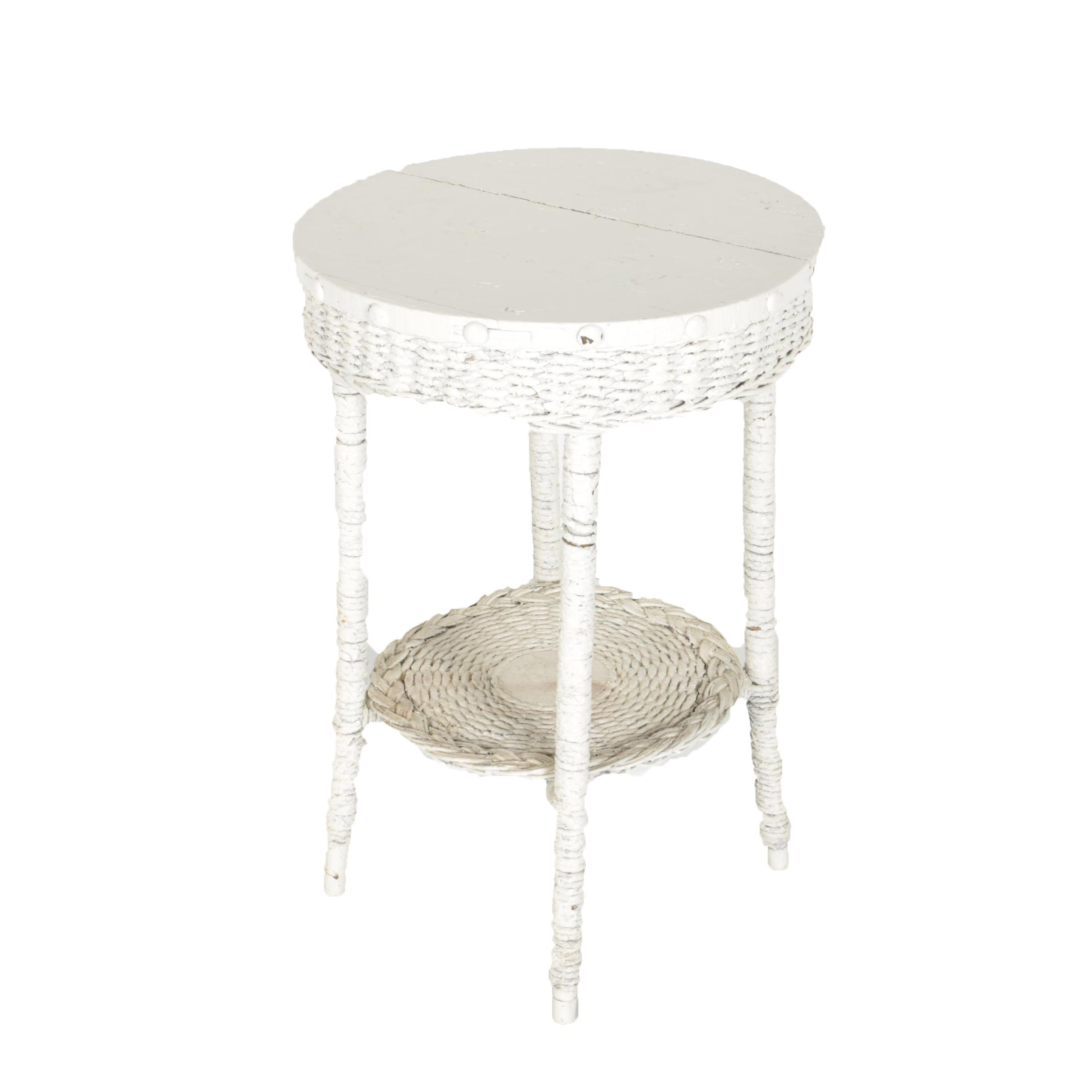 White Wicker Round Accent Table