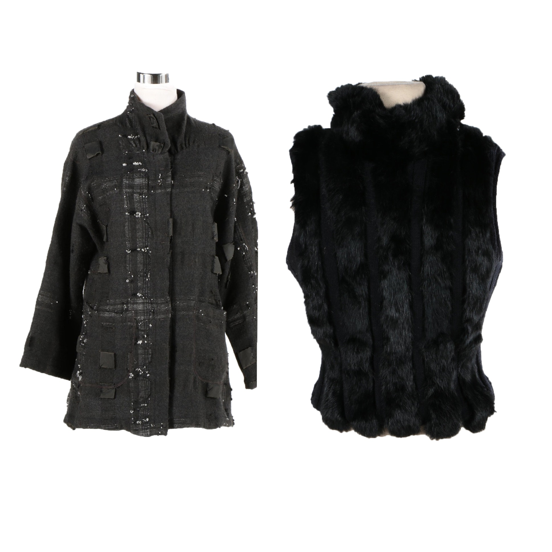 Women's Jacket and Rabbit Fur Accented Seater Vest