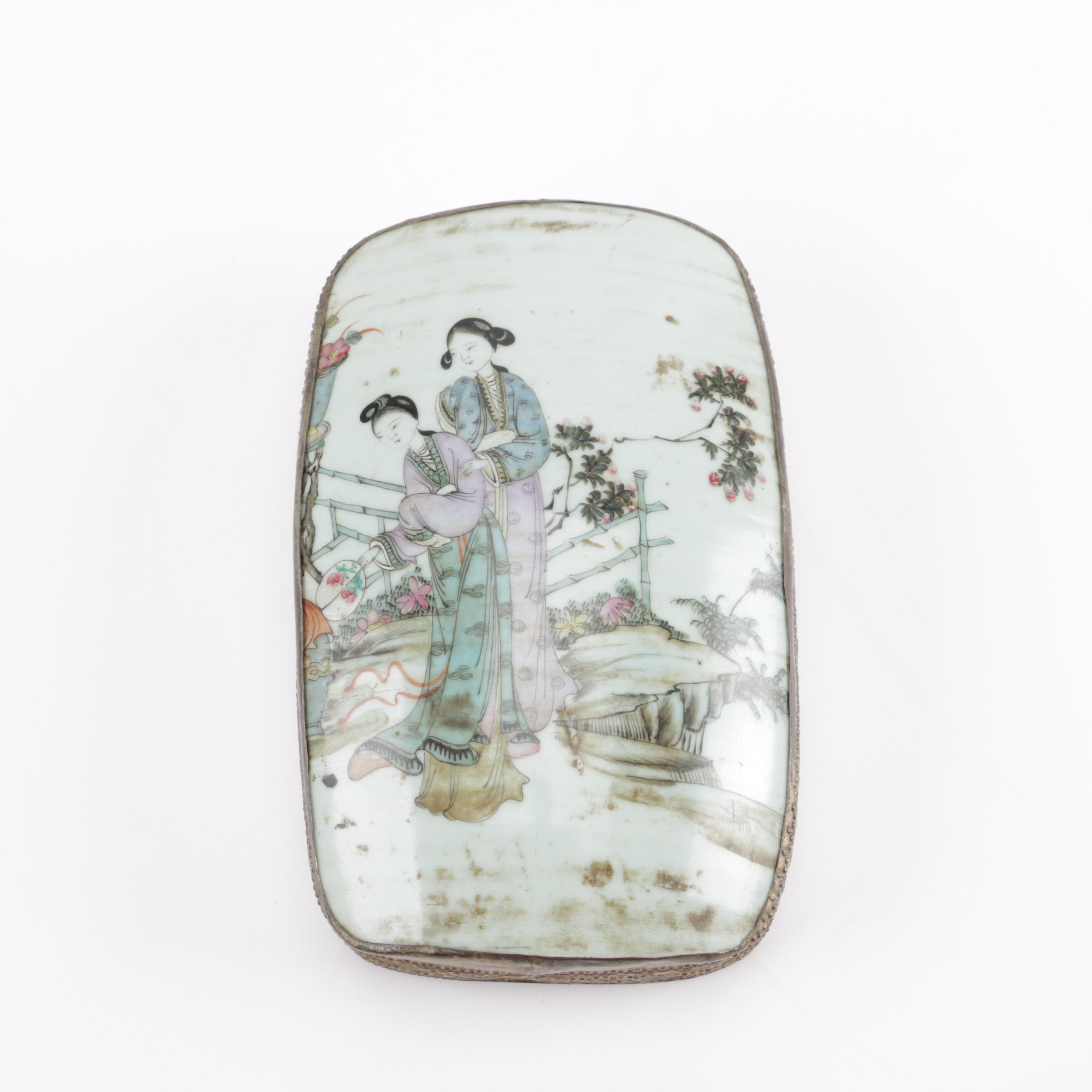 Chinese Porcelain Shard Figural Trinket Box