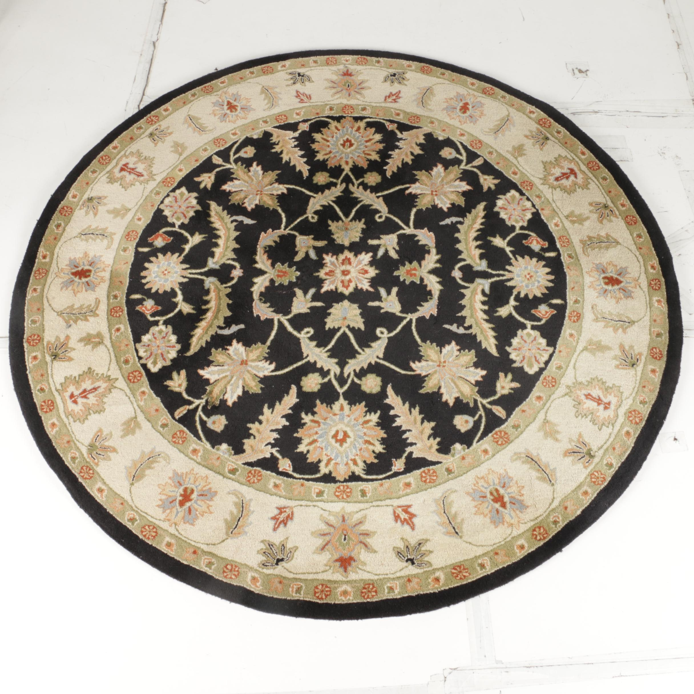 Hand-Tufted Indian Tabriz Style Round Area Rug