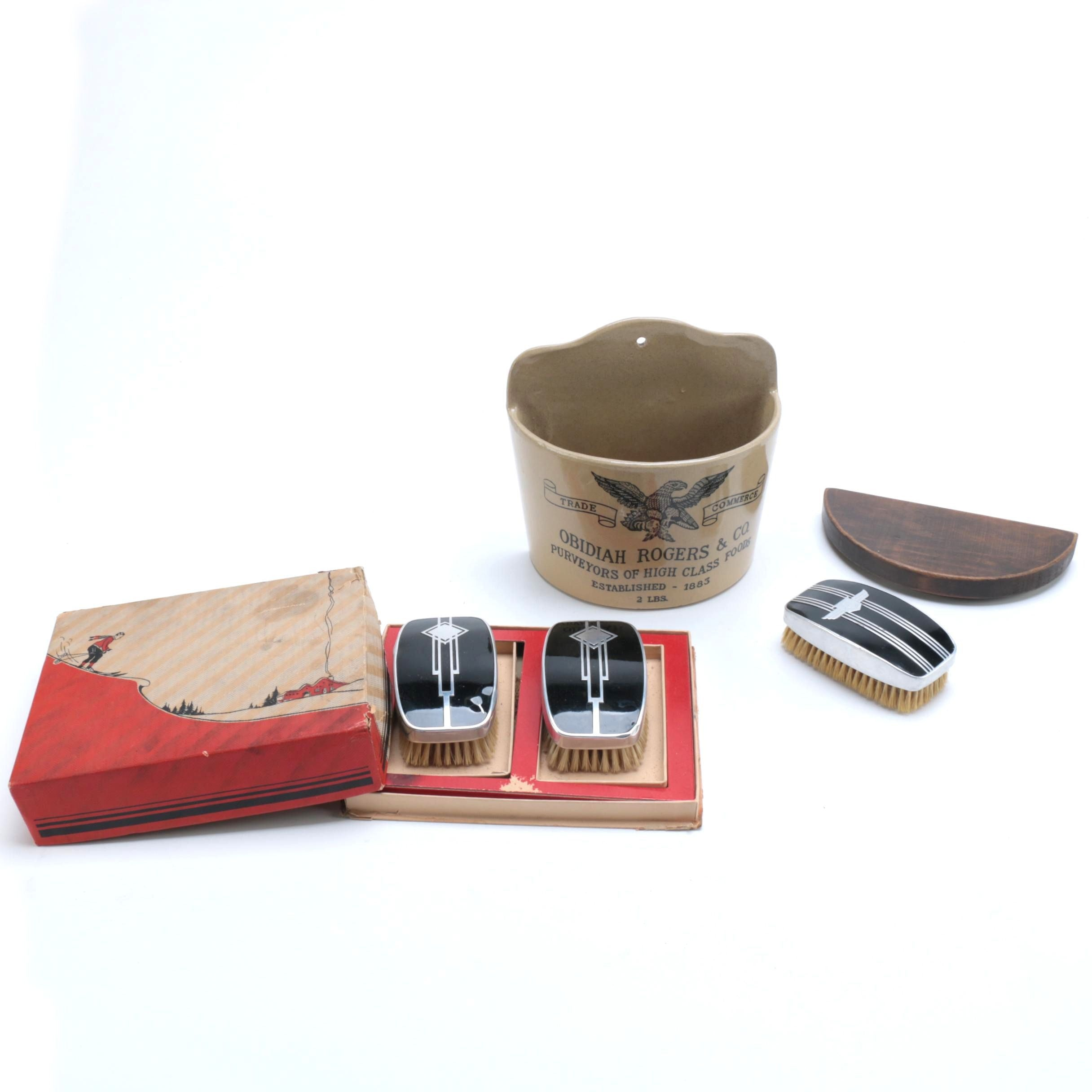 Obidiah Rodgers & Co. Wall Pocket and a Set of Vintage Men's Brushes
