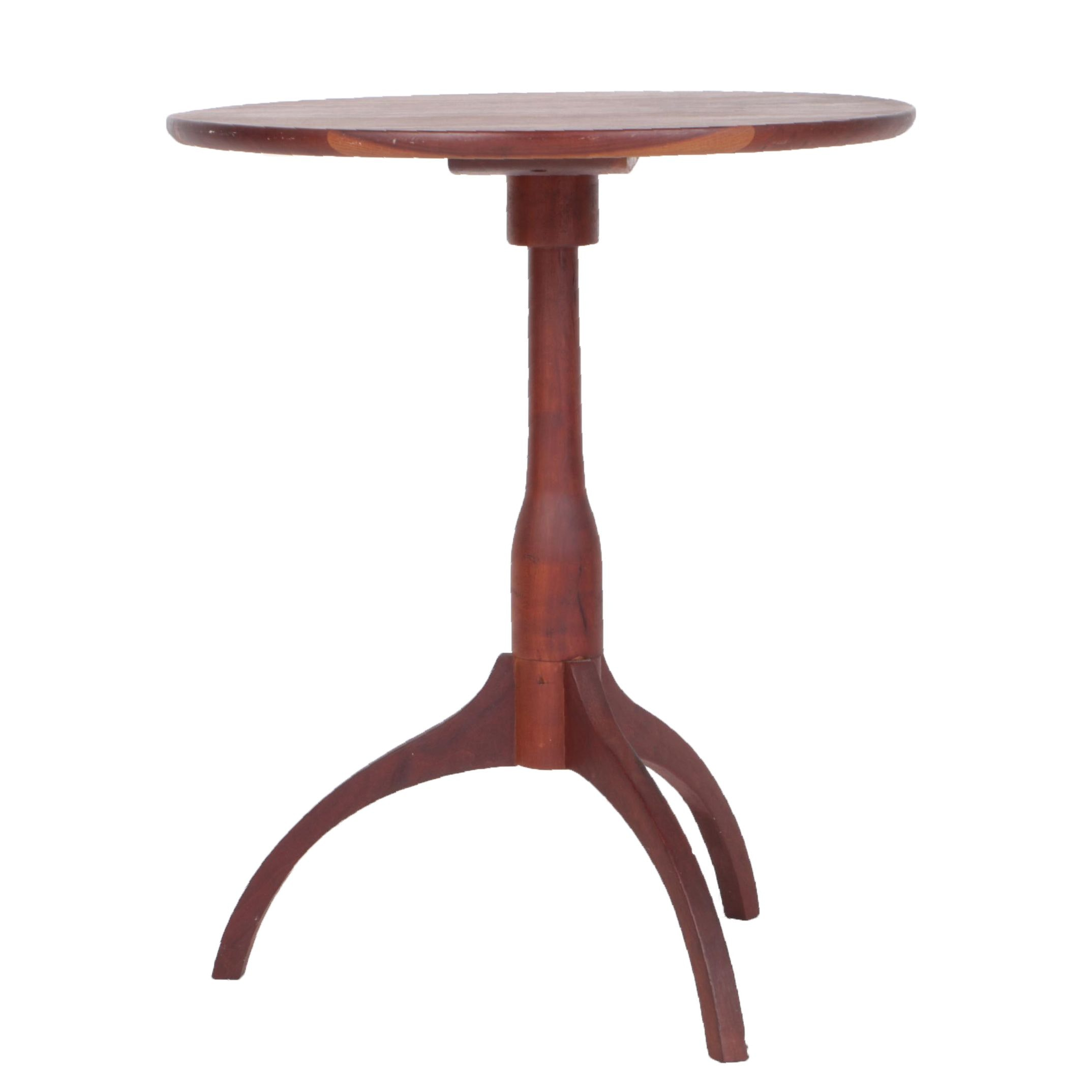 Cherry Finished Pedestal Accent Table