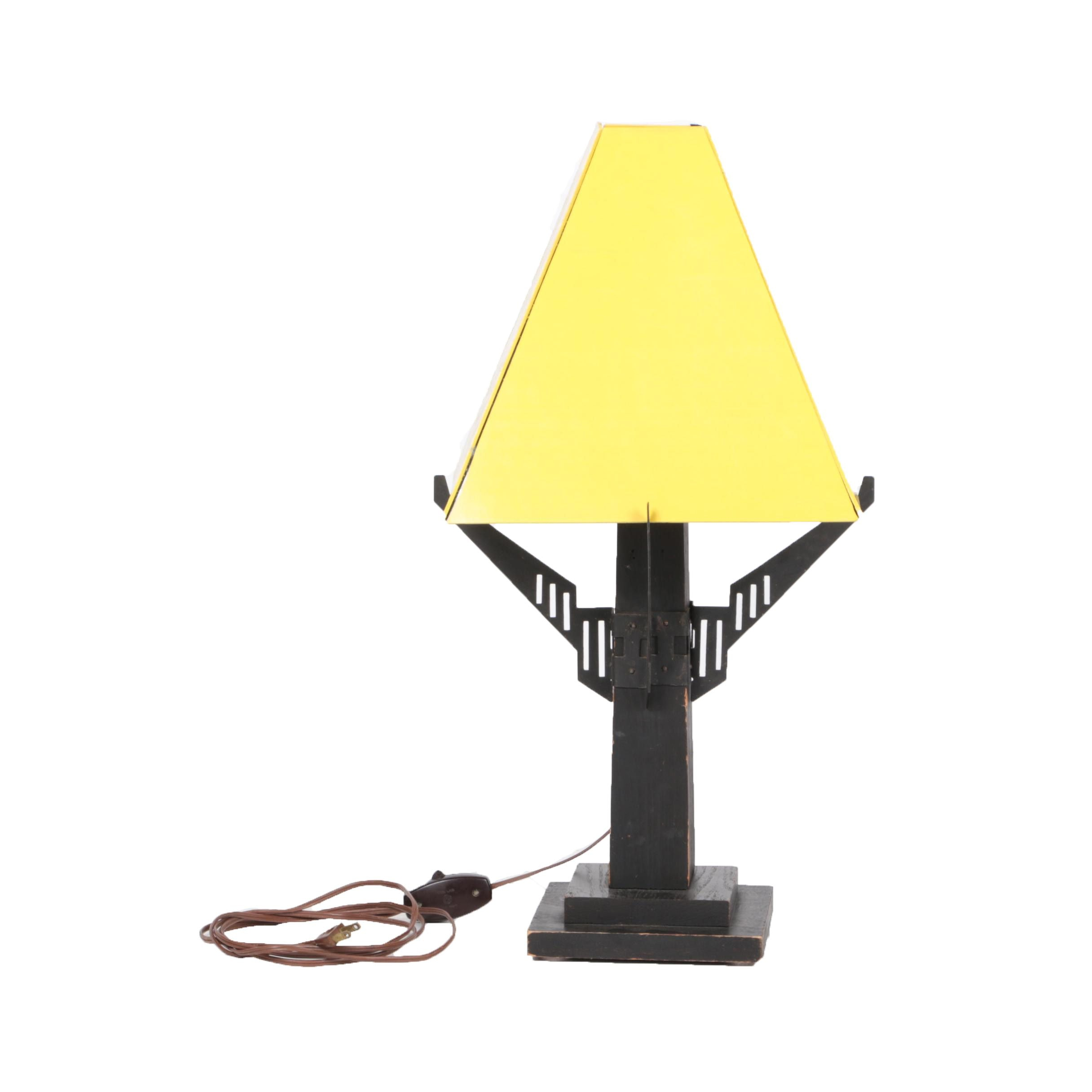 Wooden Table Lamp with Yellow Pyramid Lampshade