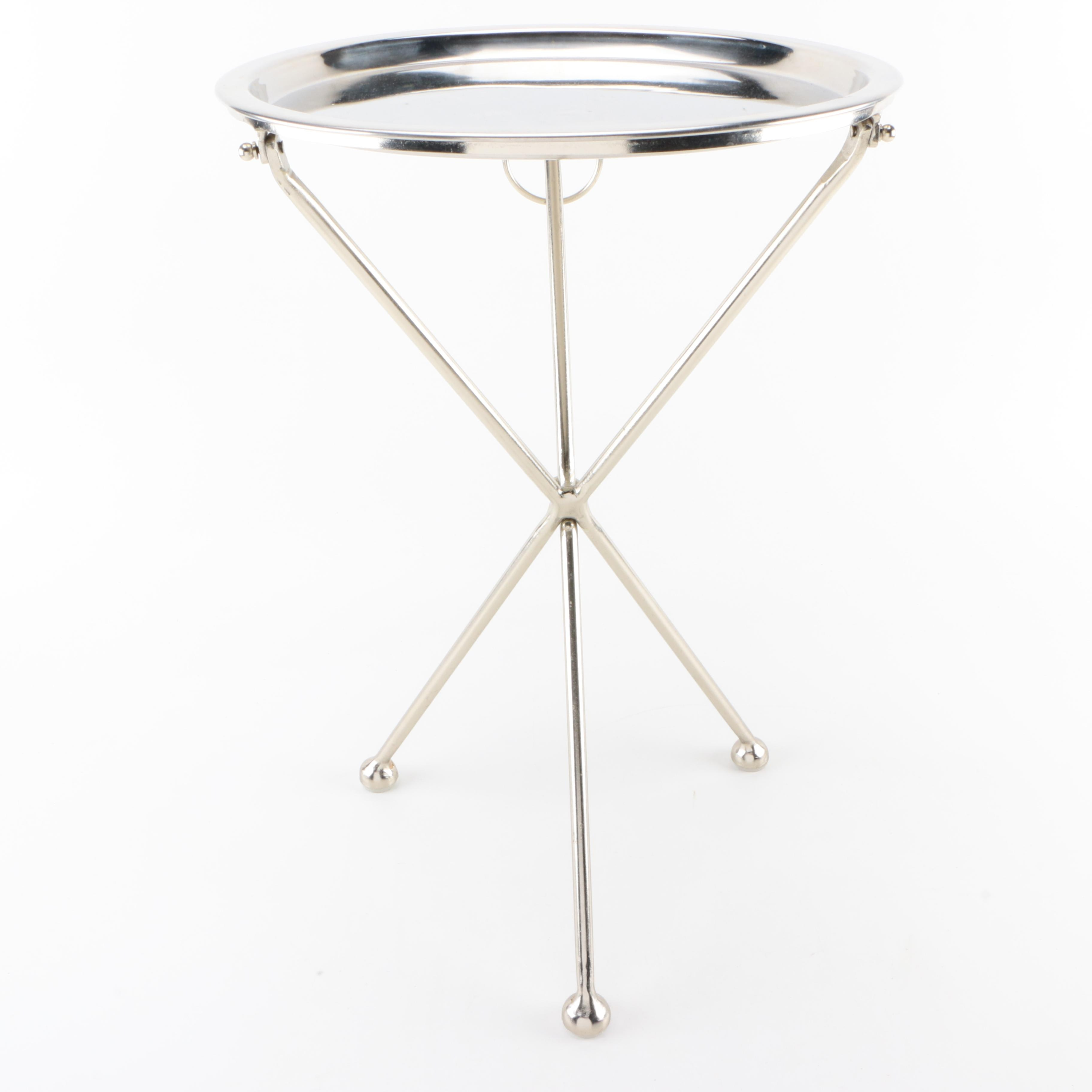 Metal Tray-Topped Side Table