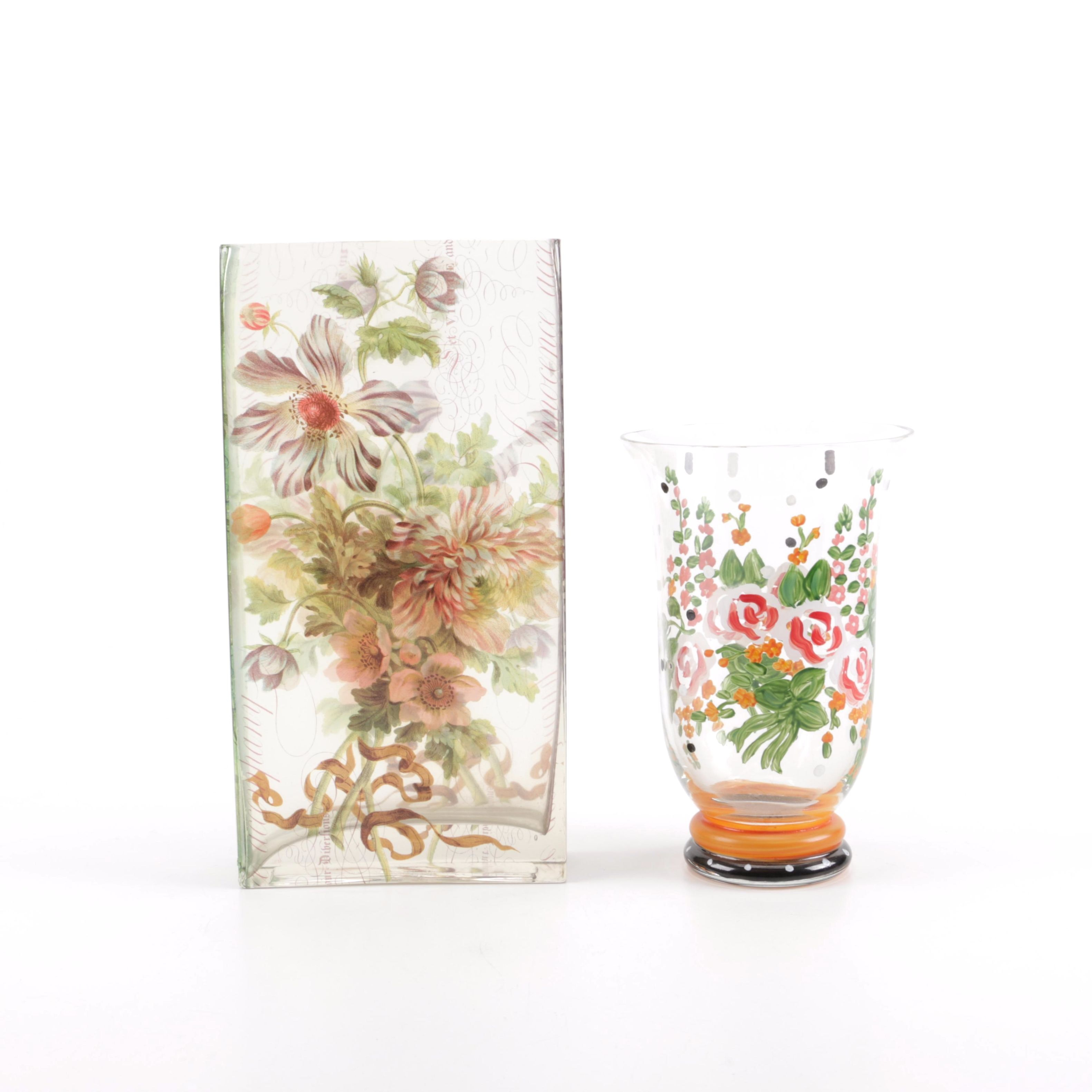 Pair of Hand Painted Glass Vases
