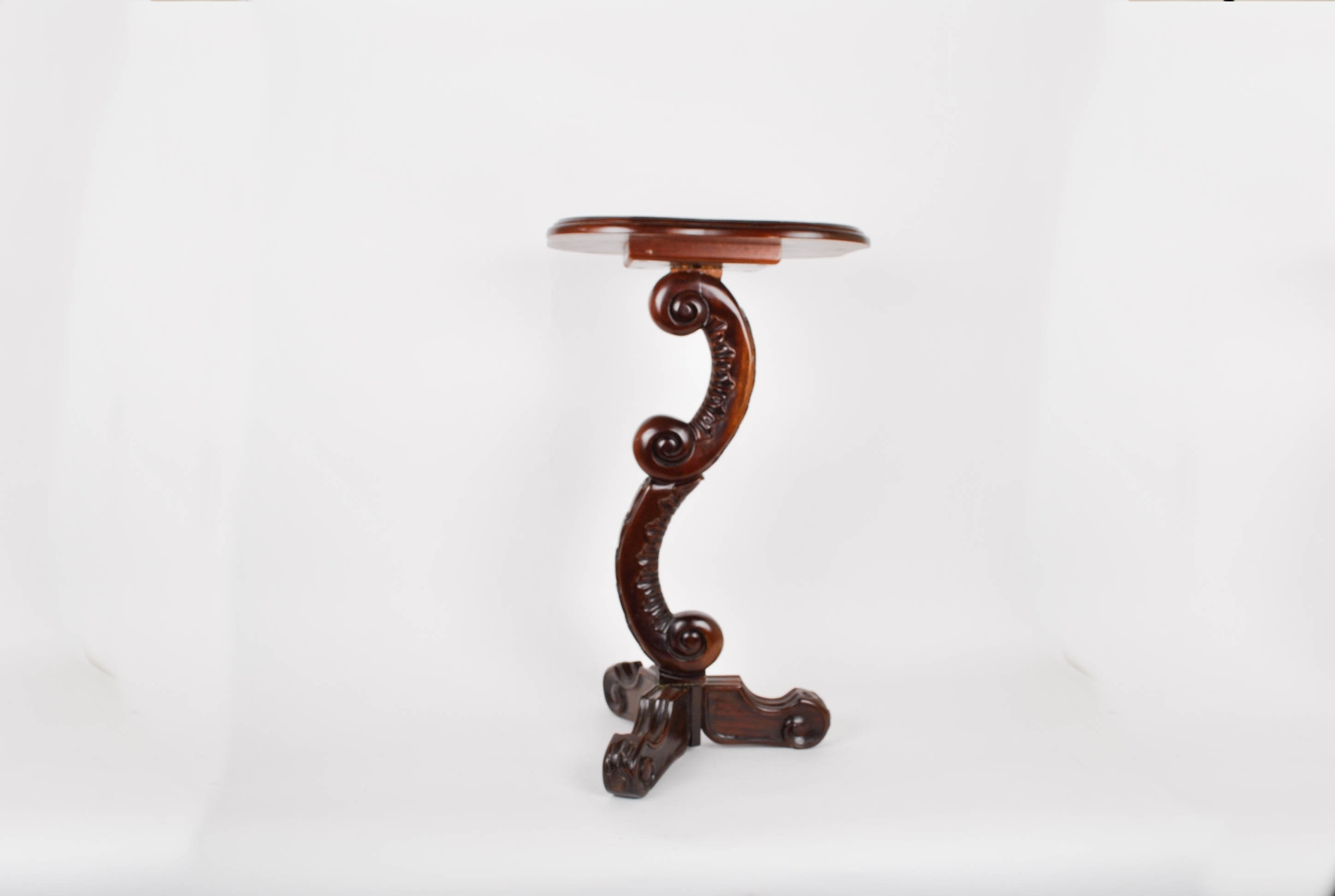 Side Accent Table Carved Wood